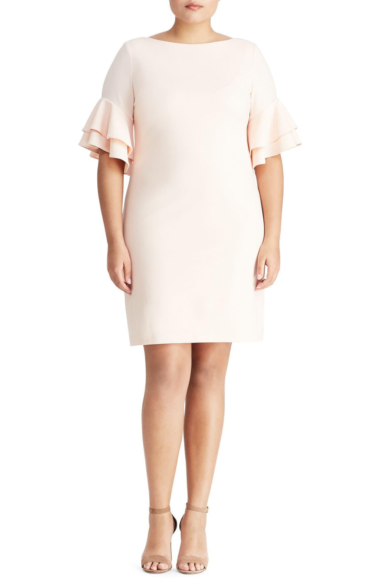 Ruffle Sleeve Crepe Dress,                             Main thumbnail 1, color,