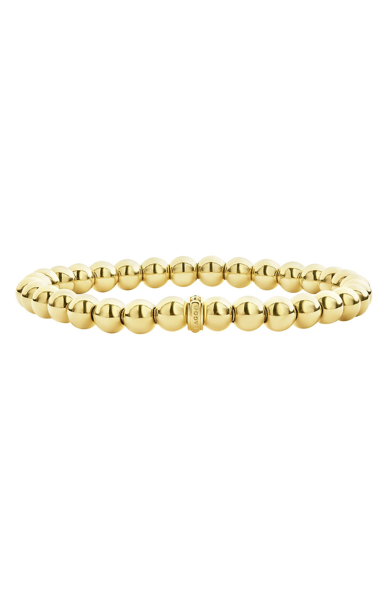 Caviar Gold Ball Stretch Bracelet,                             Main thumbnail 1, color,                             GOLD