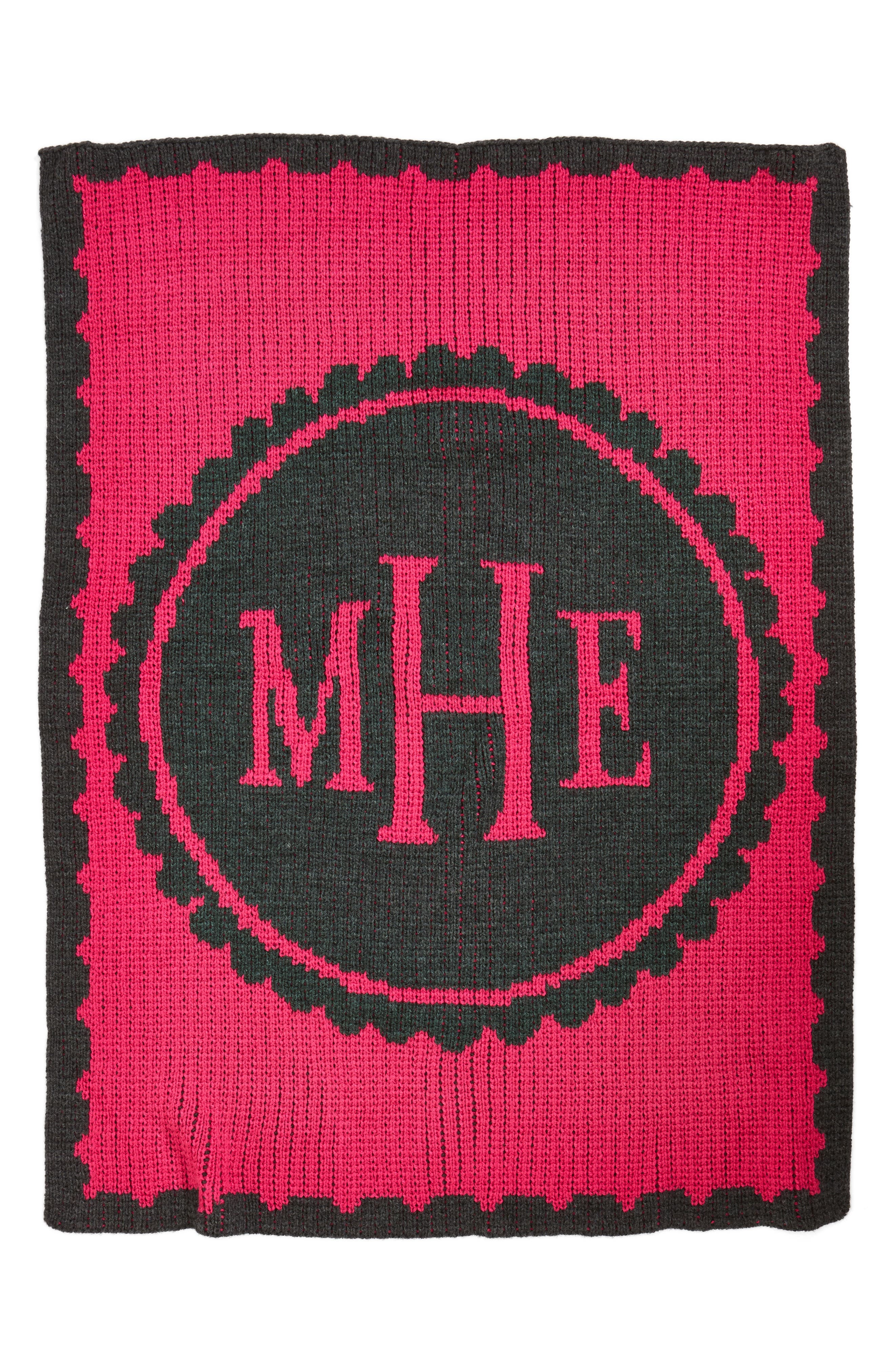 'Scalloped - Small' Personalized Blanket,                             Alternate thumbnail 2, color,                             CHARCOAL GREY/ FUSCHIA