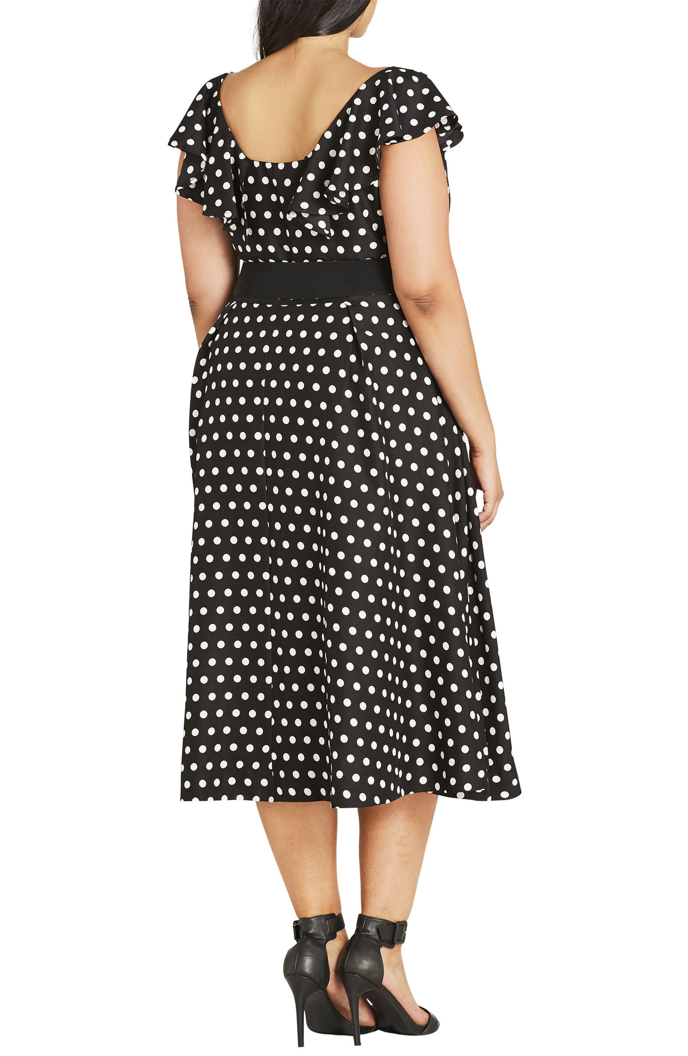 Flutter Spot Belted Dress,                             Alternate thumbnail 2, color,                             BLACK SPOT