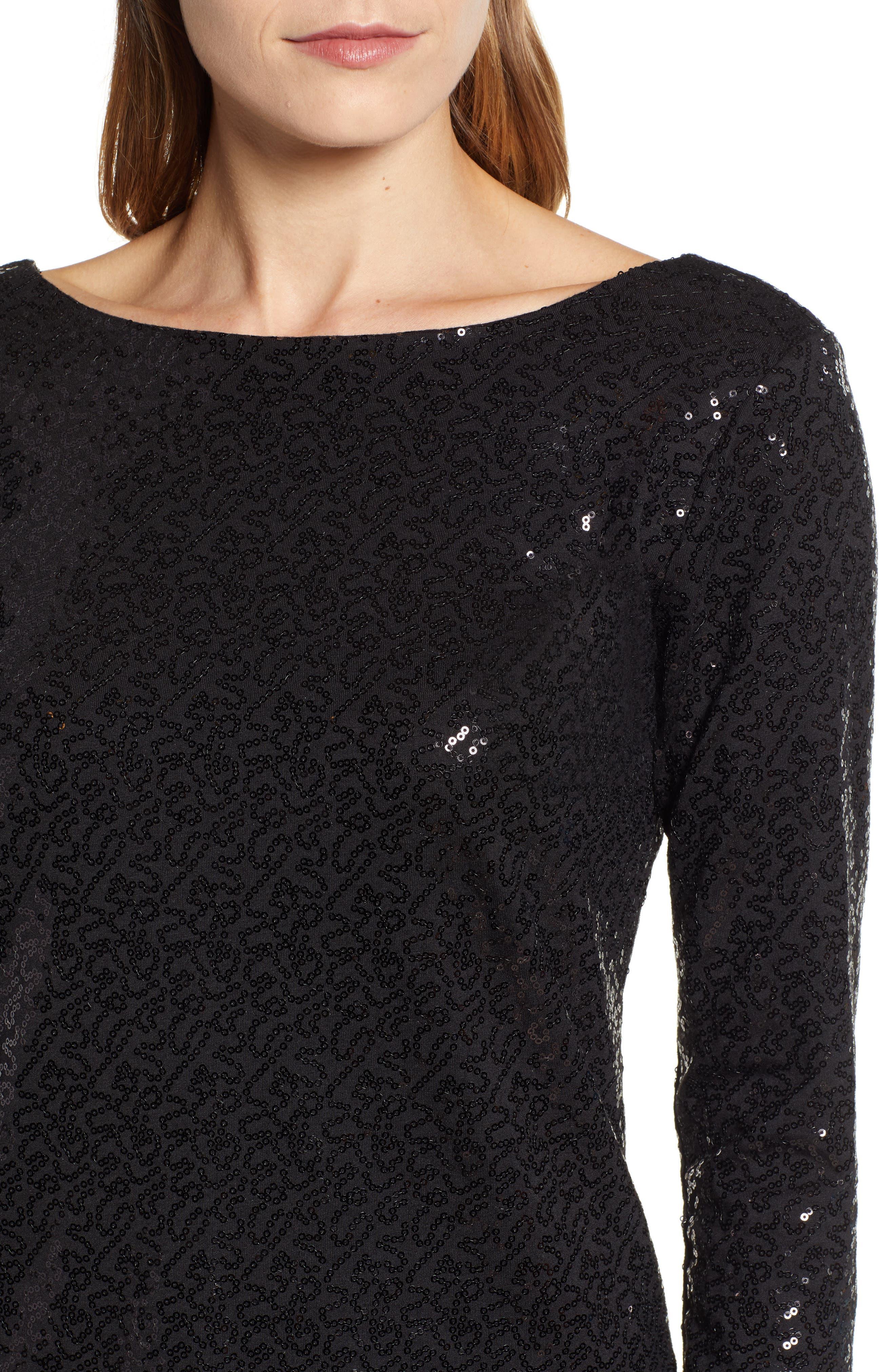 x Glam Squad Megan Sequin Embellished Scoop Back Top,                             Alternate thumbnail 5, color,                             BLACK
