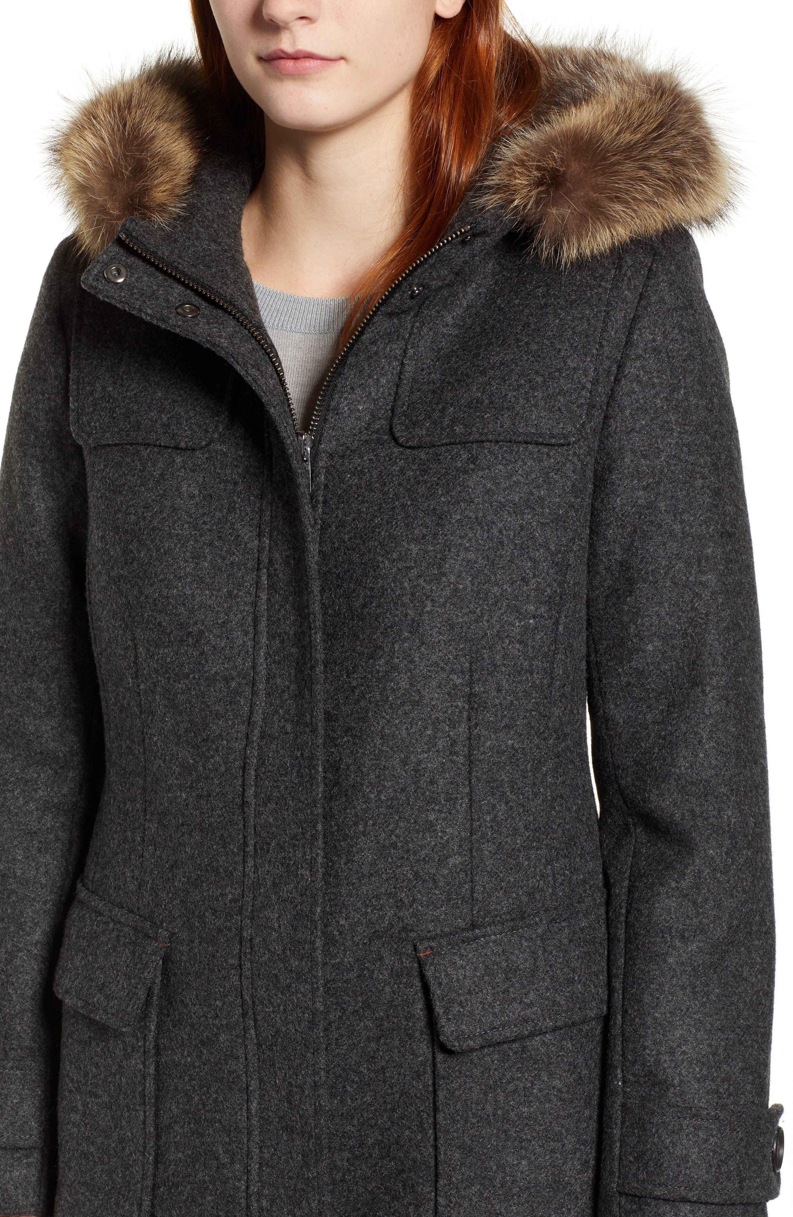 Portland Wool Duffle Coat with Genuine Fur Trim,                             Alternate thumbnail 4, color,                             ASH MEL