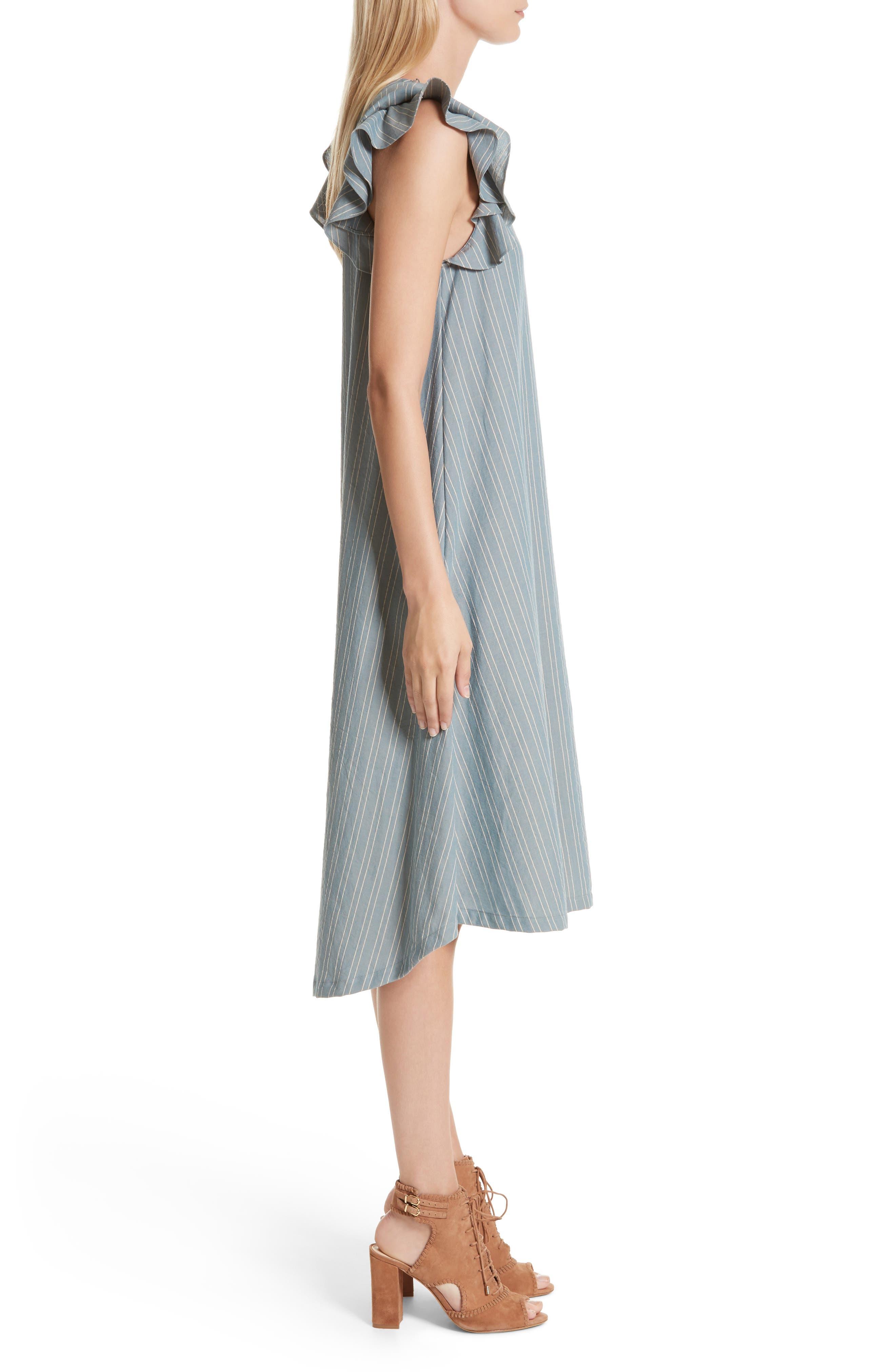 The Petal Stripe Chambray Dress,                             Alternate thumbnail 3, color,                             401