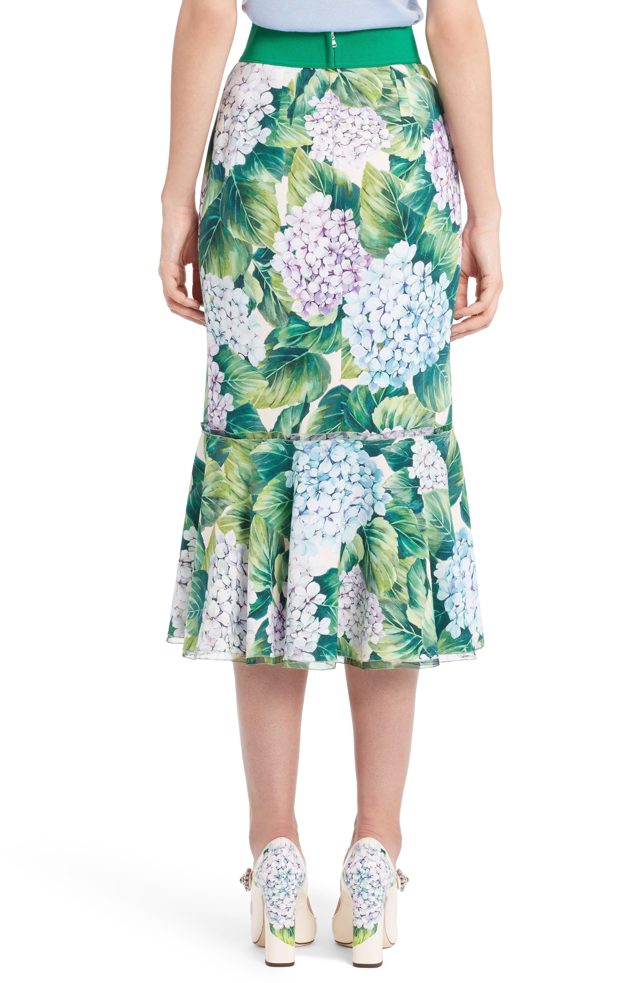 Hydrangea Print Ruffle Hem Skirt,                             Alternate thumbnail 2, color,                             300