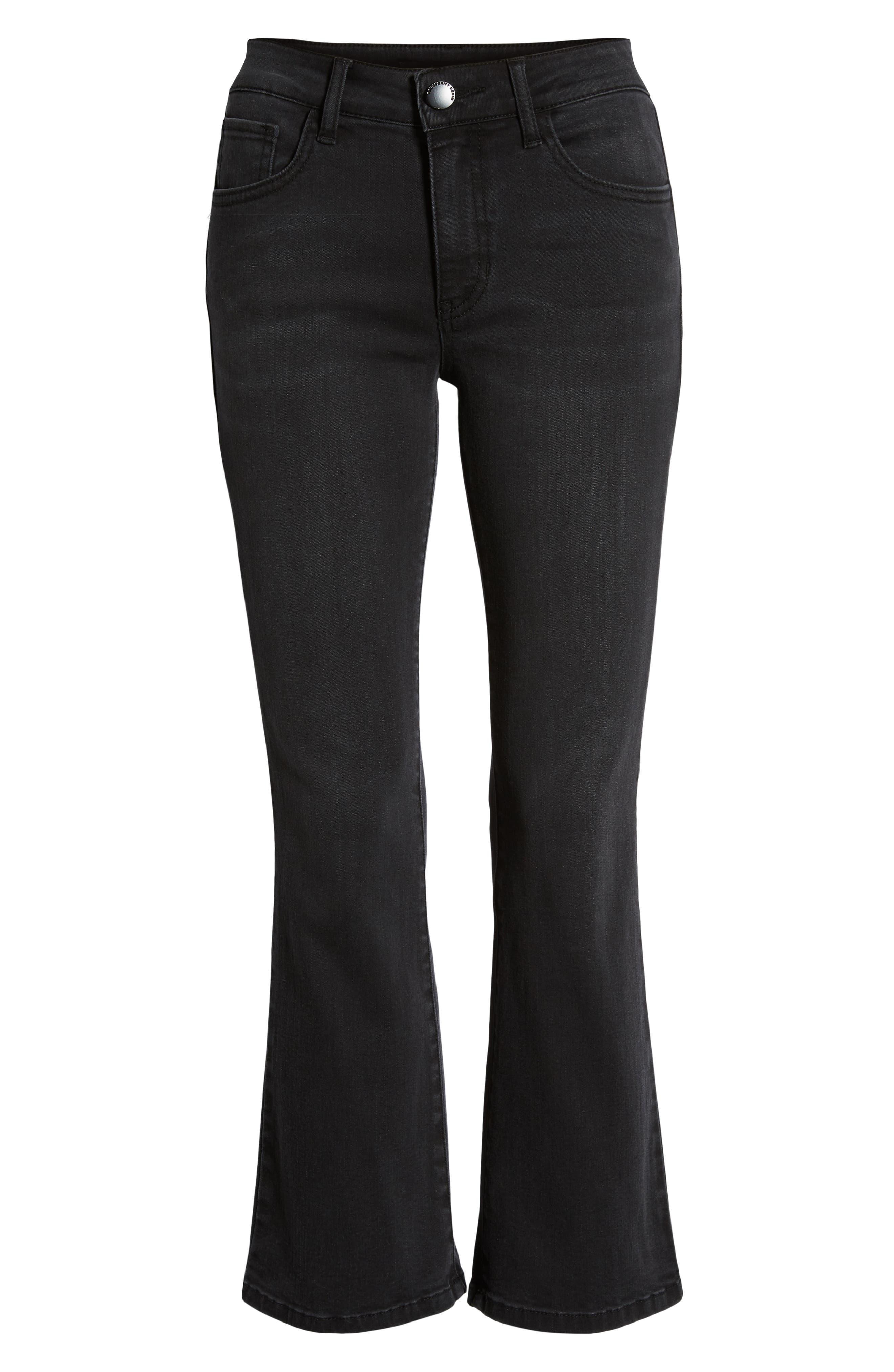 Crop Flare Jeans,                             Alternate thumbnail 6, color,                             BLACK