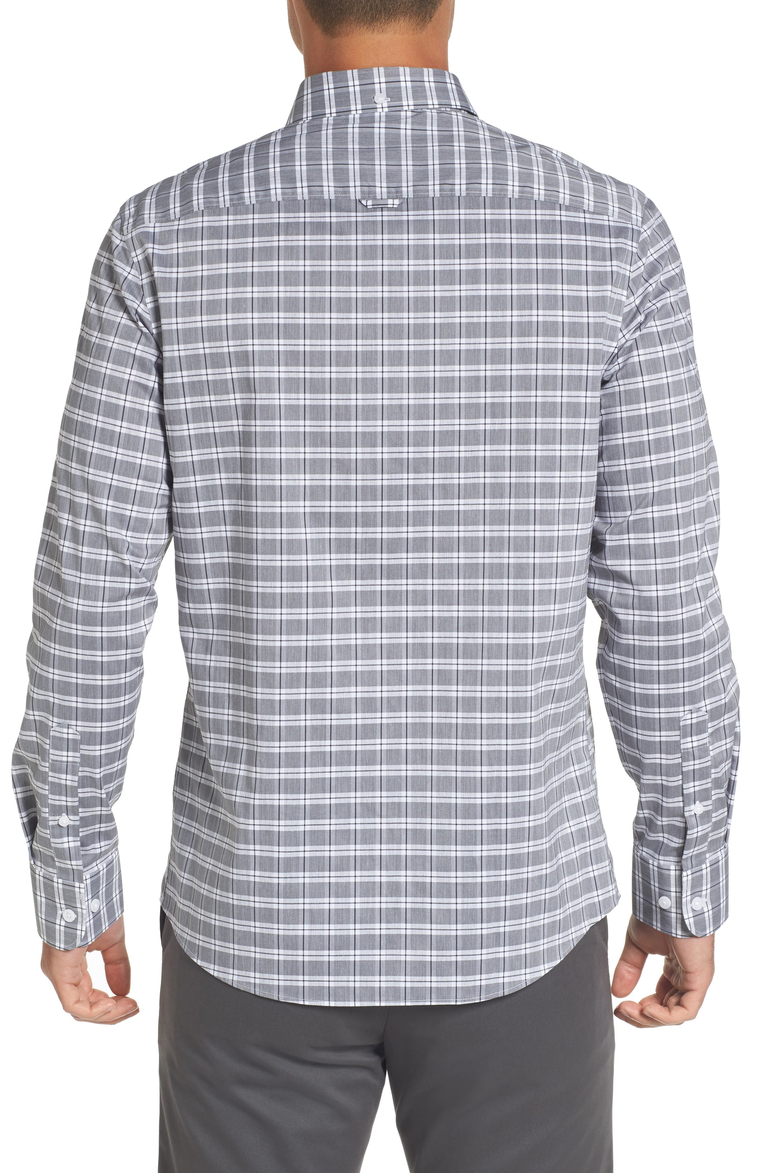 Trim Fit Tech-Smart Heather Check Sport Shirt,                             Alternate thumbnail 2, color,                             030