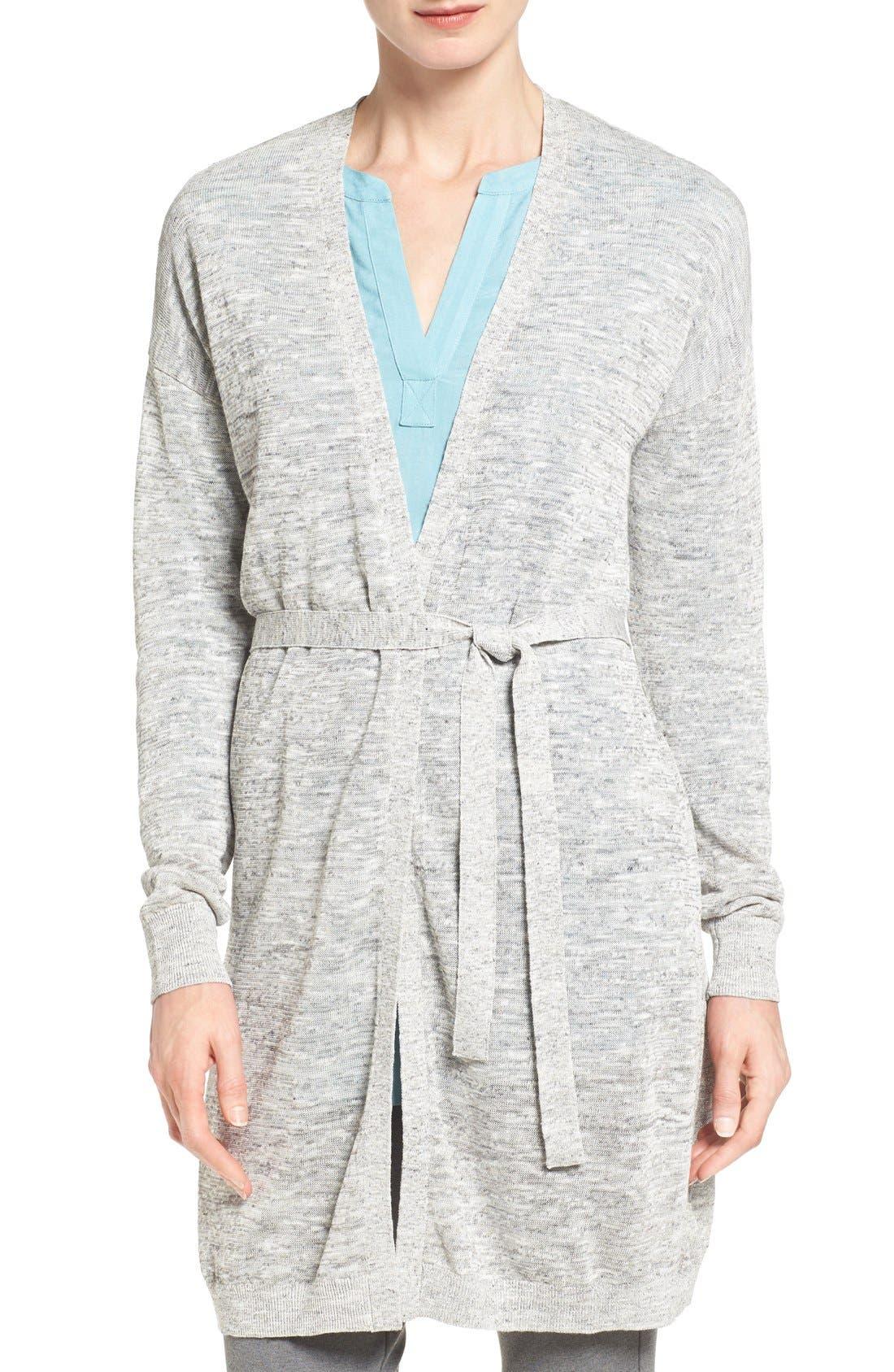 HALOGEN<SUP>®</SUP> Long Belted Linen Blend Cardigan, Main, color, 021