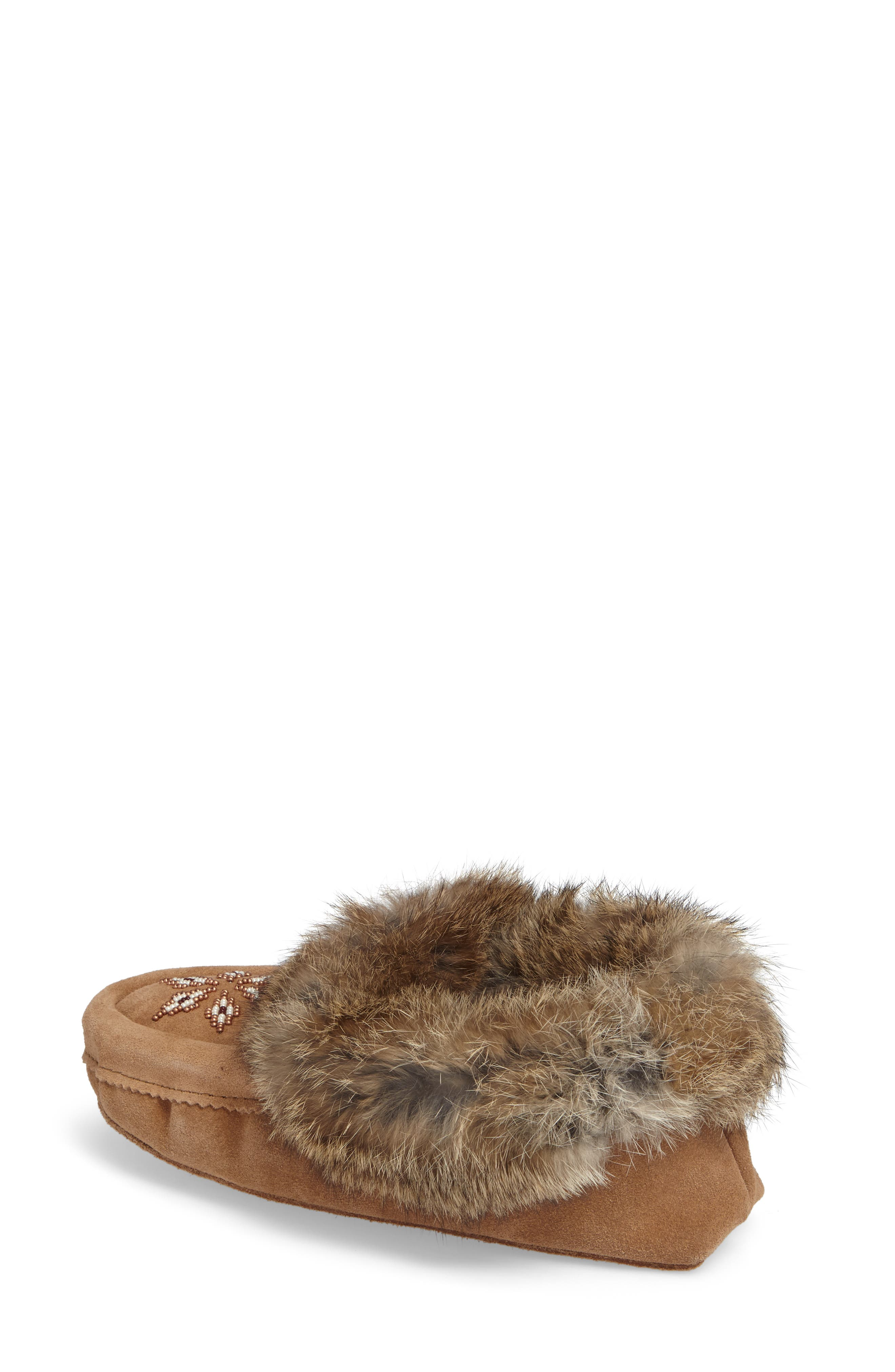 'Kanada' Genuine Rabbit Fur & Suede Moccasin Slipper,                             Alternate thumbnail 2, color,                             OAK FUR