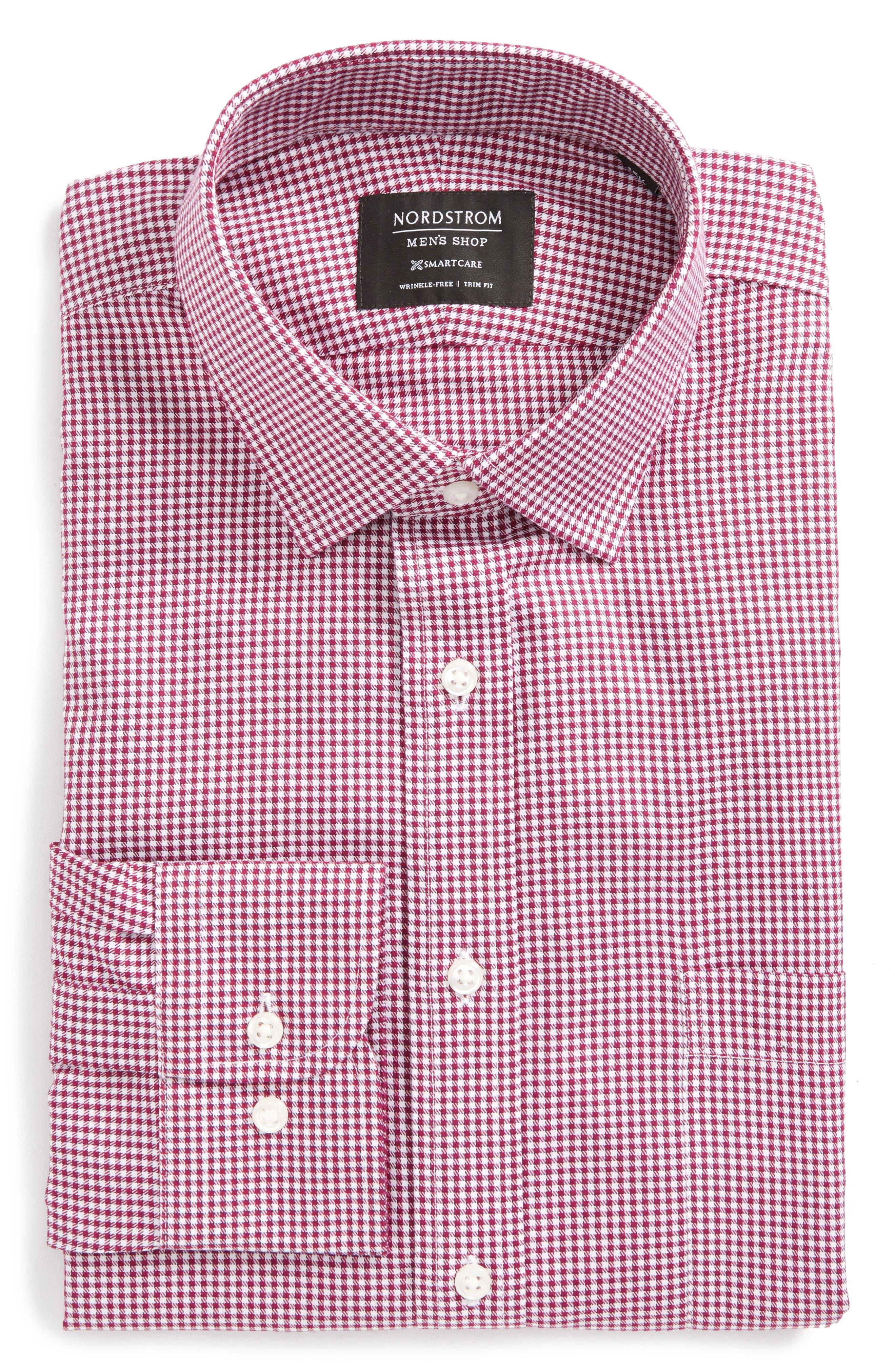 Smartcare<sup>™</sup> Trim Fit Mini Check Dress Shirt,                             Alternate thumbnail 5, color,                             510