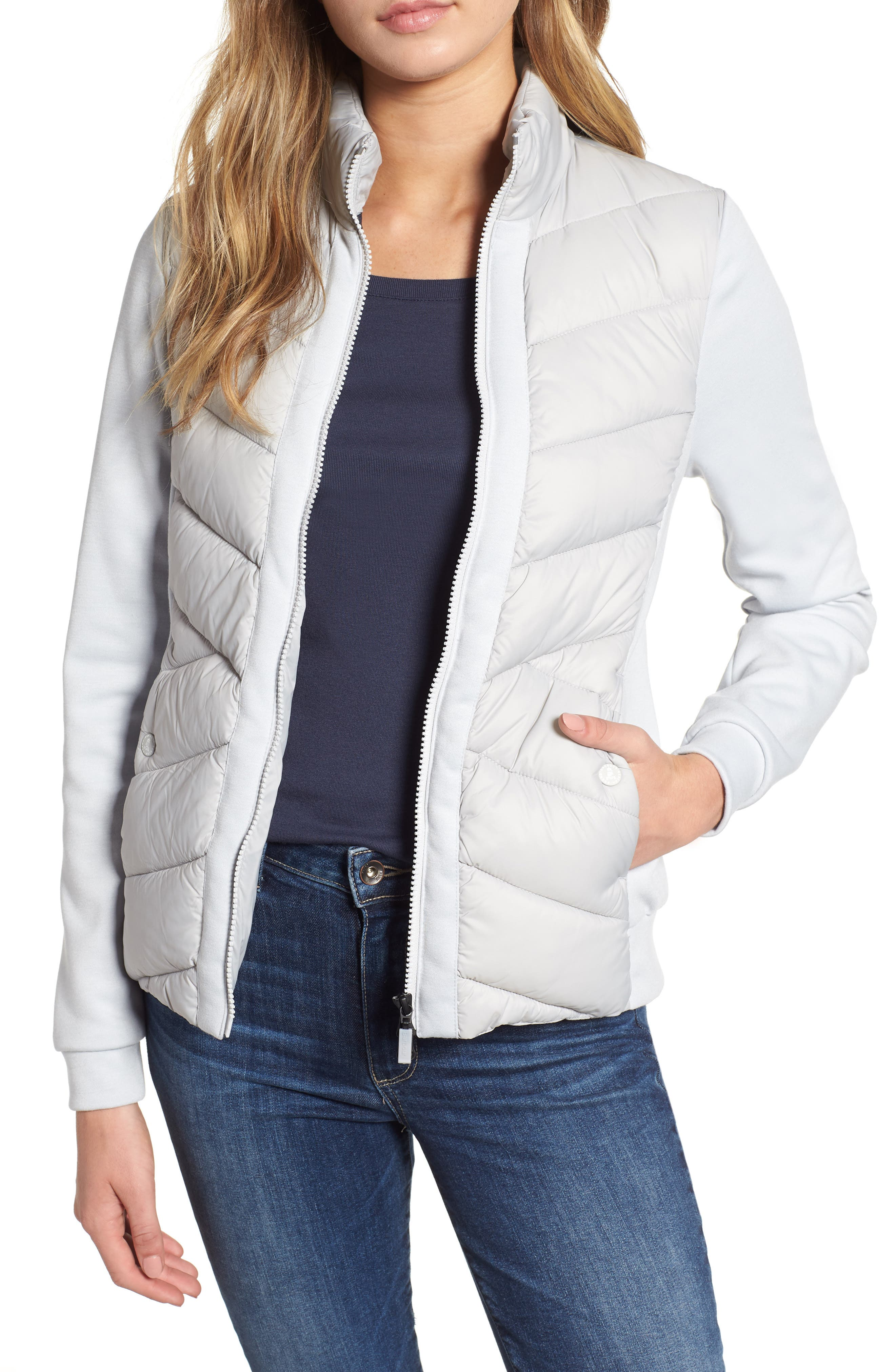 BARBOUR,                             Hirsel Chevron Quilted Sweater Jacket,                             Main thumbnail 1, color,                             ICE WHITE/ ICE WHITE MARL