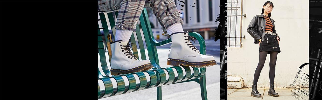 Women wearing Dr. Martens boots.