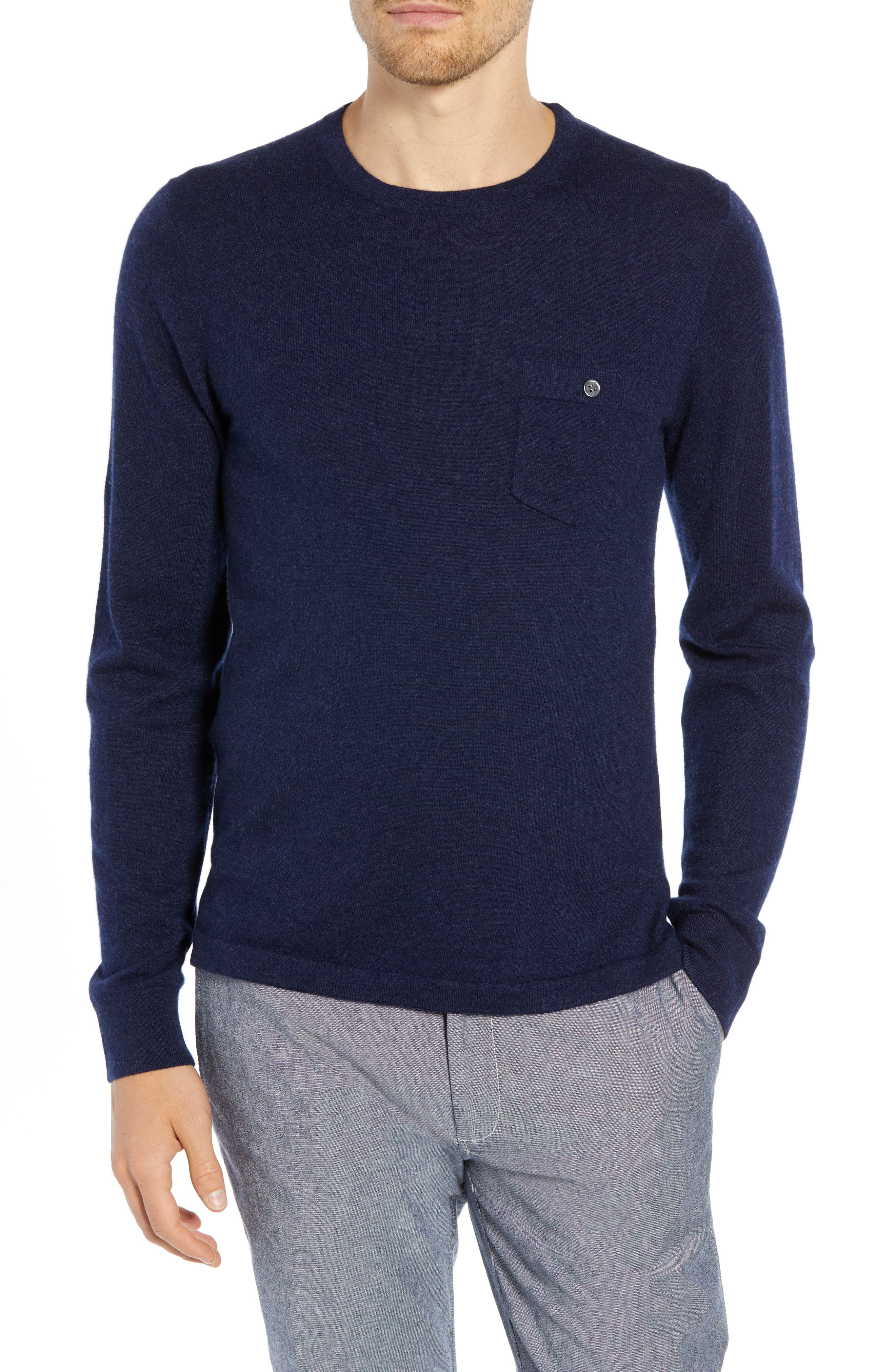 Cashmere Sweater,                         Main,                         color, NAVY/ GREY