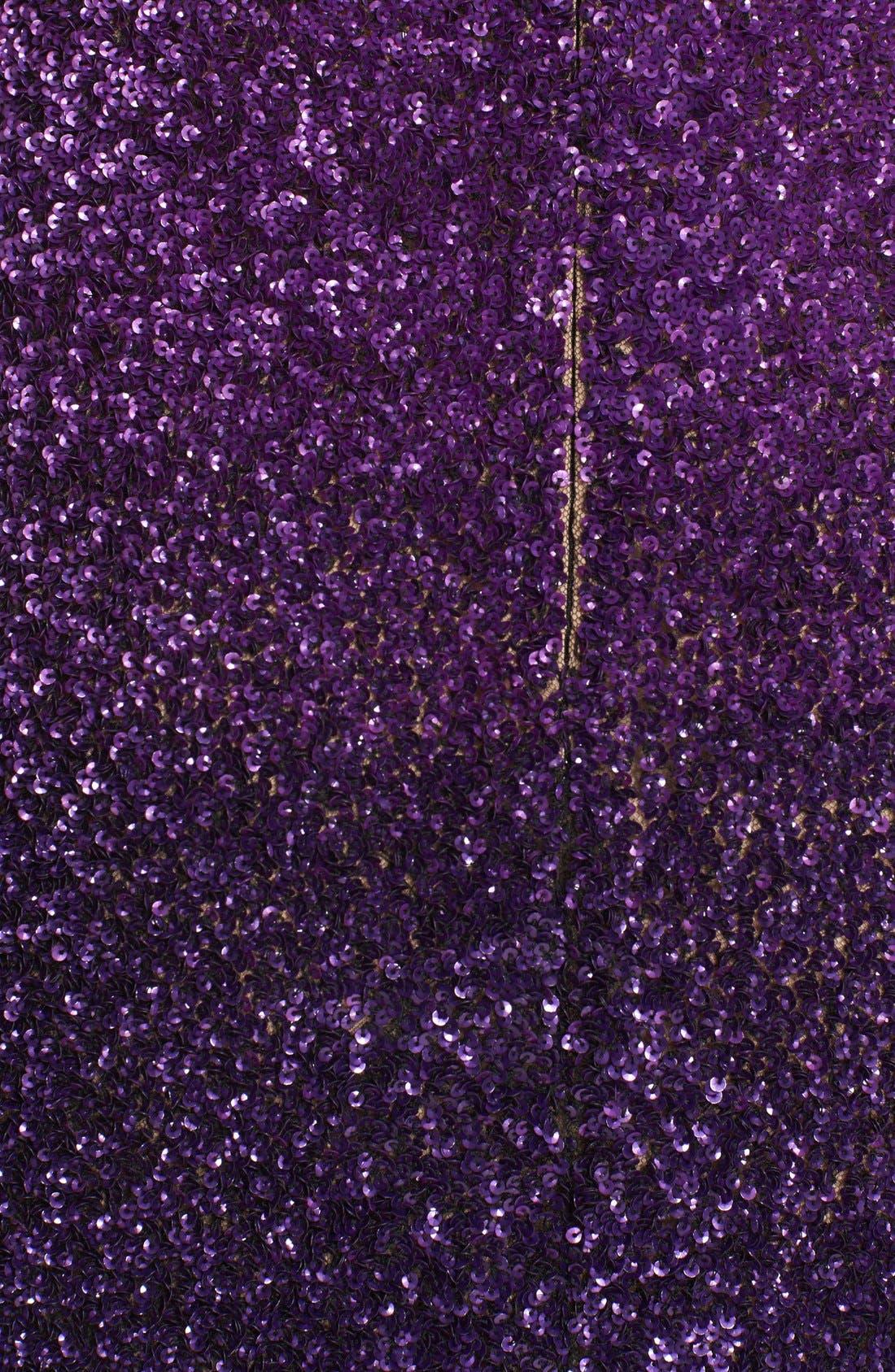 Signature Sequin Short Sleeve Column Gown,                             Alternate thumbnail 3, color,