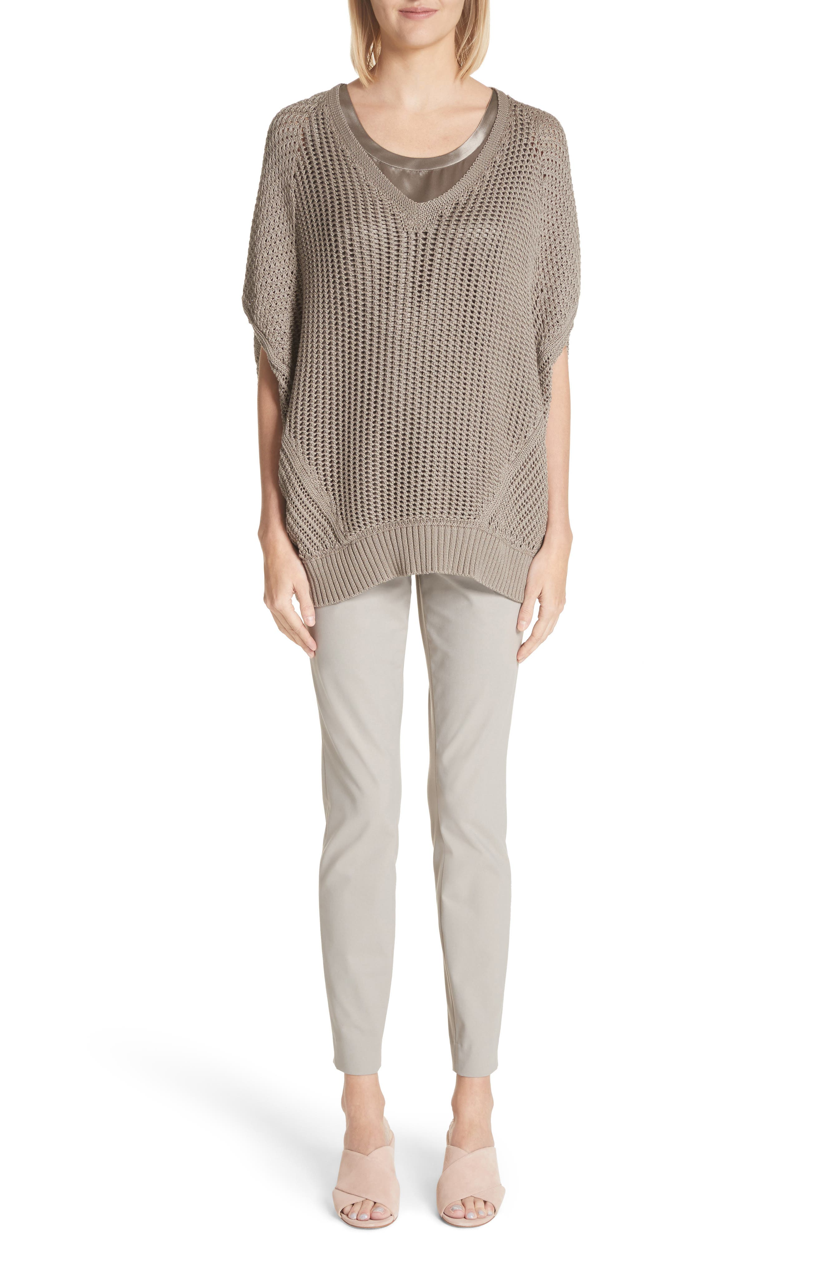 Mixed Stitch Cotton & Silk Sweater,                             Alternate thumbnail 7, color,                             026