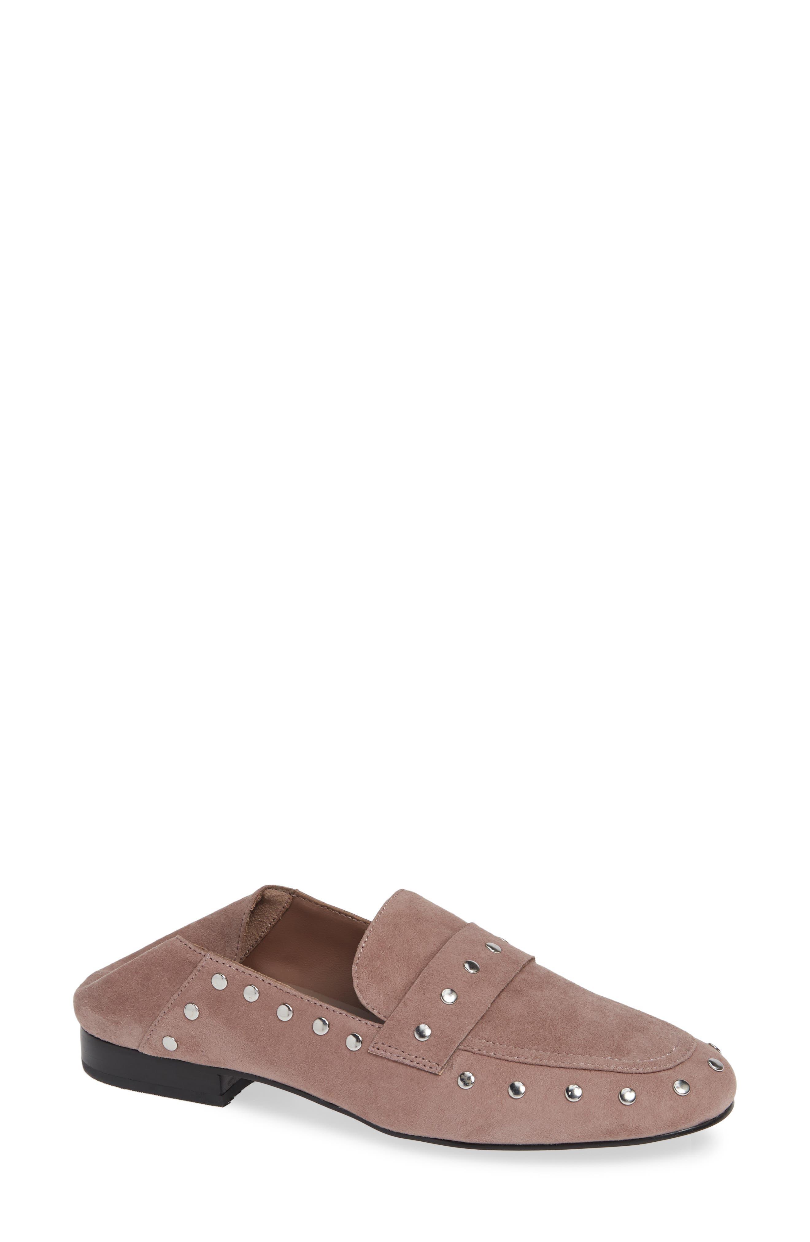 Black Suede Studio Alfee Studded Convertible Loafer, Pink