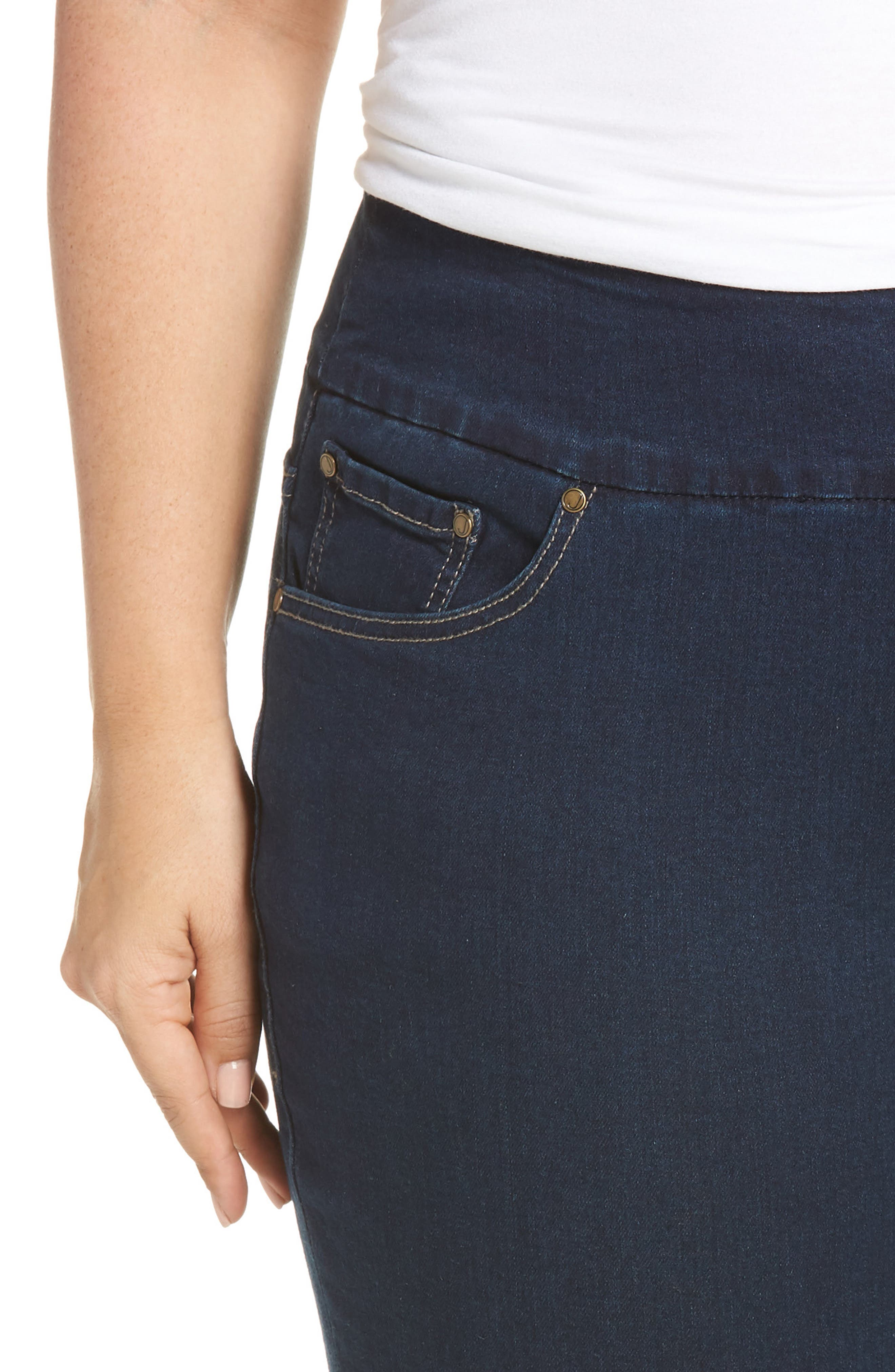 Paley Pull-On Bootcut Jeans,                             Alternate thumbnail 4, color,                             MED INDIGO