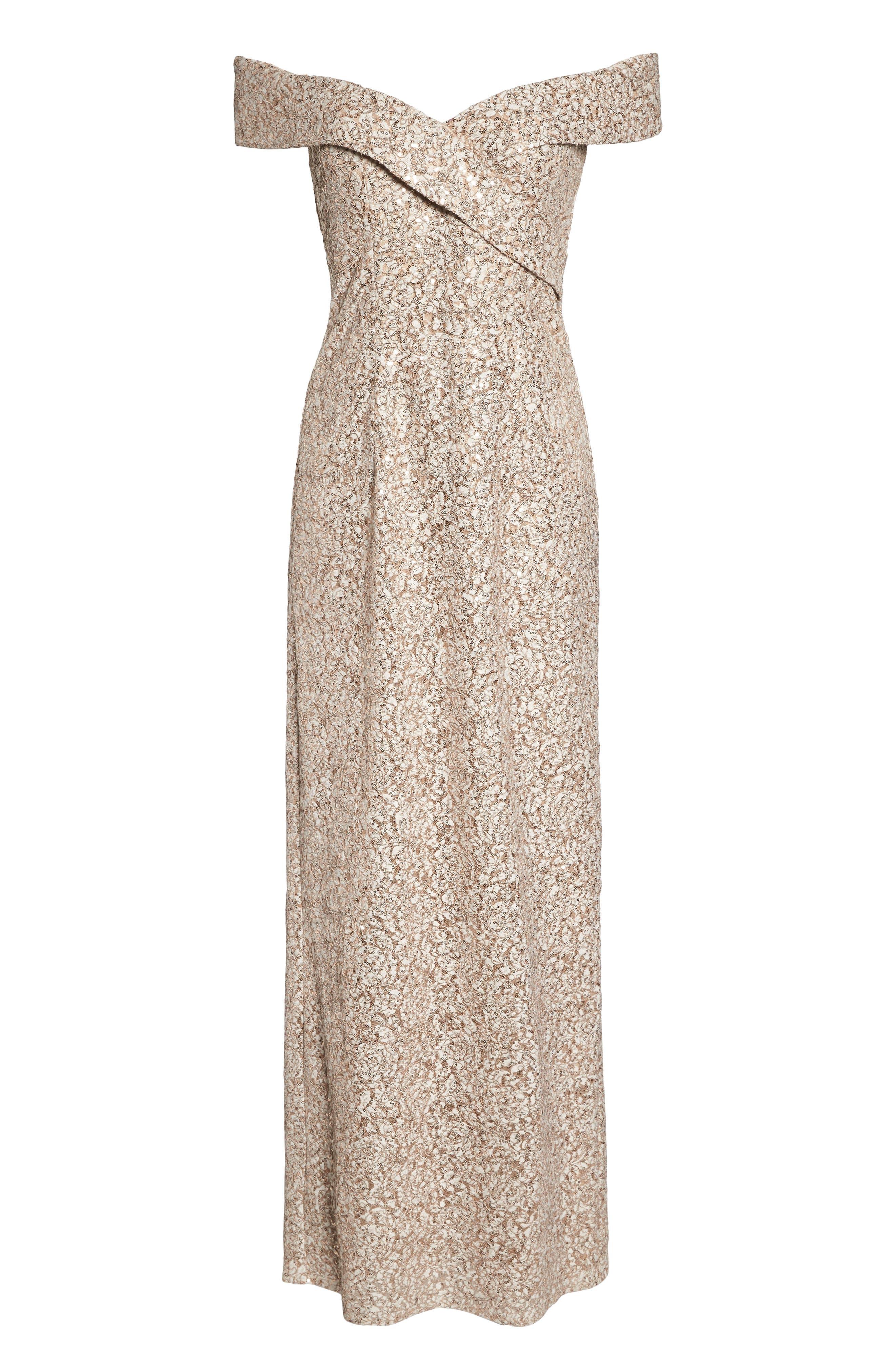 Off the Shoulder Sequin & Lace Gown,                             Alternate thumbnail 7, color,                             256
