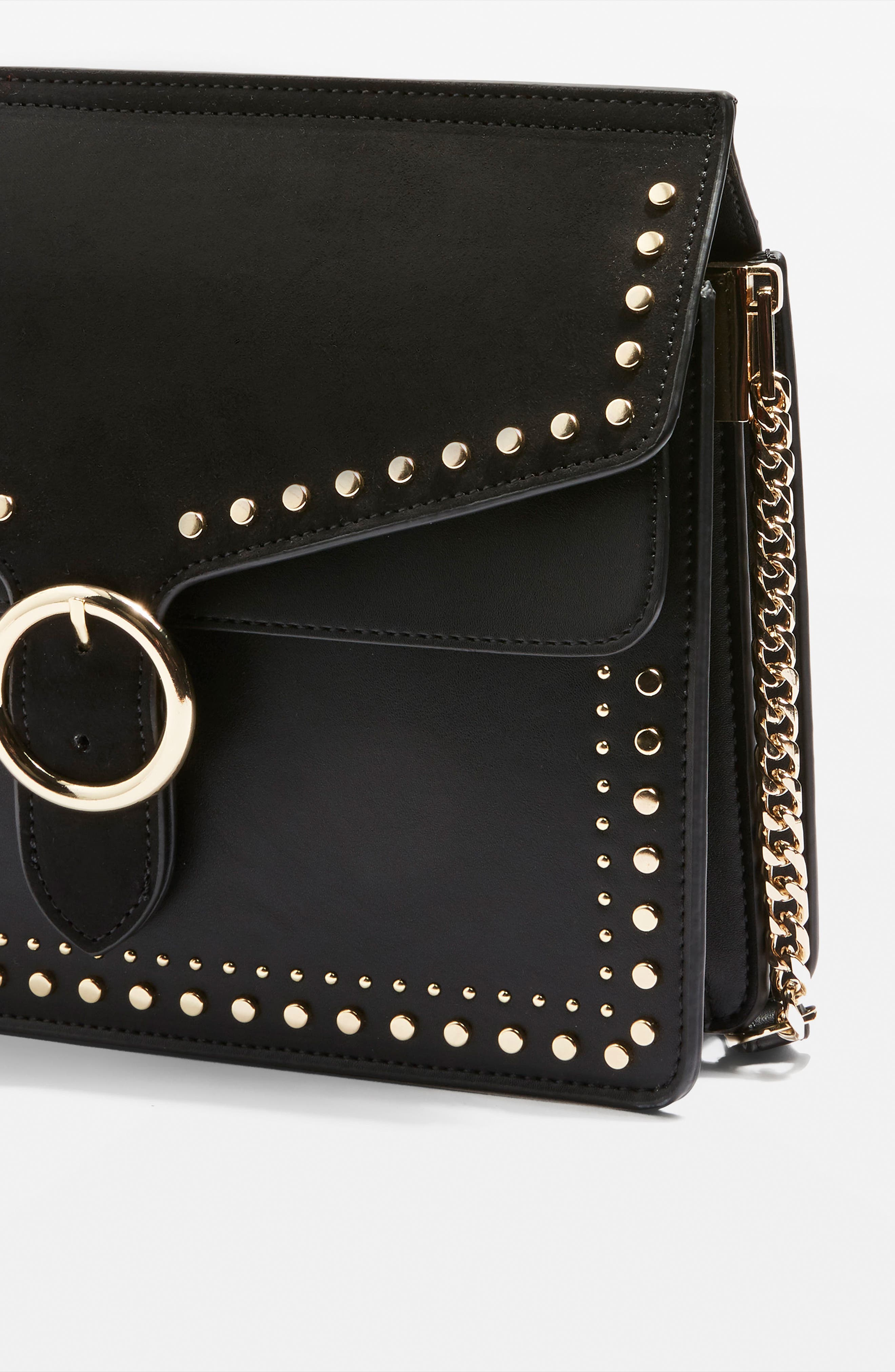 Peony Studded Shoulder Bag,                             Alternate thumbnail 3, color,                             001