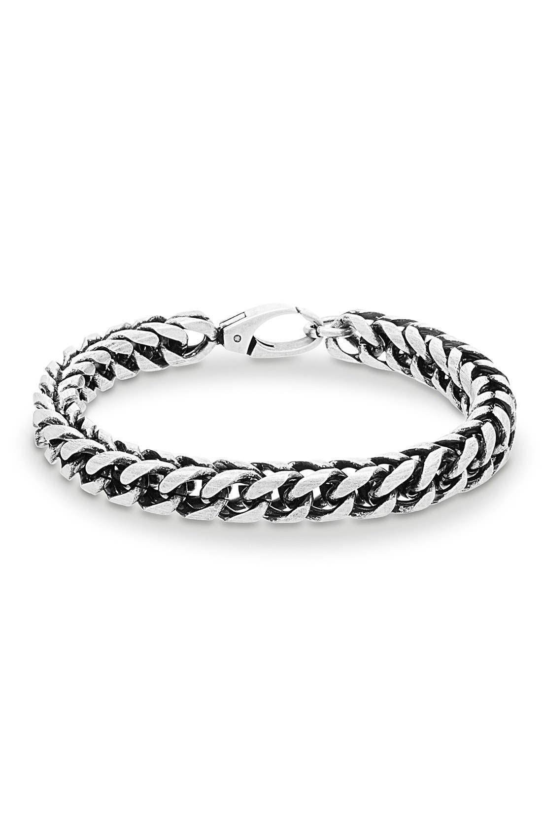 'Franco' Chain Bracelet,                             Main thumbnail 1, color,                             BURNISHED SILVER