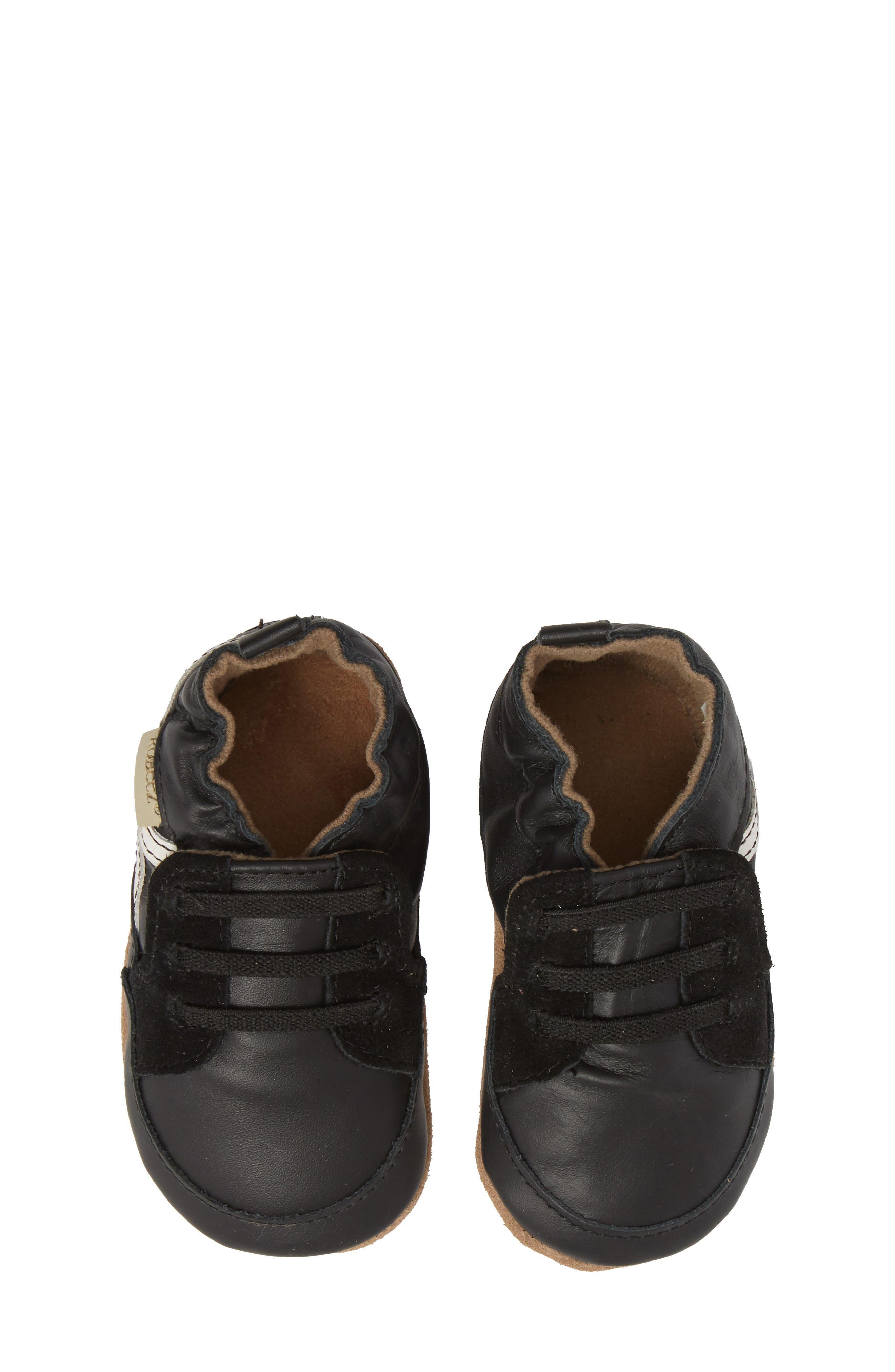Super Sporty Sneaker Crib Shoe,                             Alternate thumbnail 5, color,                             BLACK
