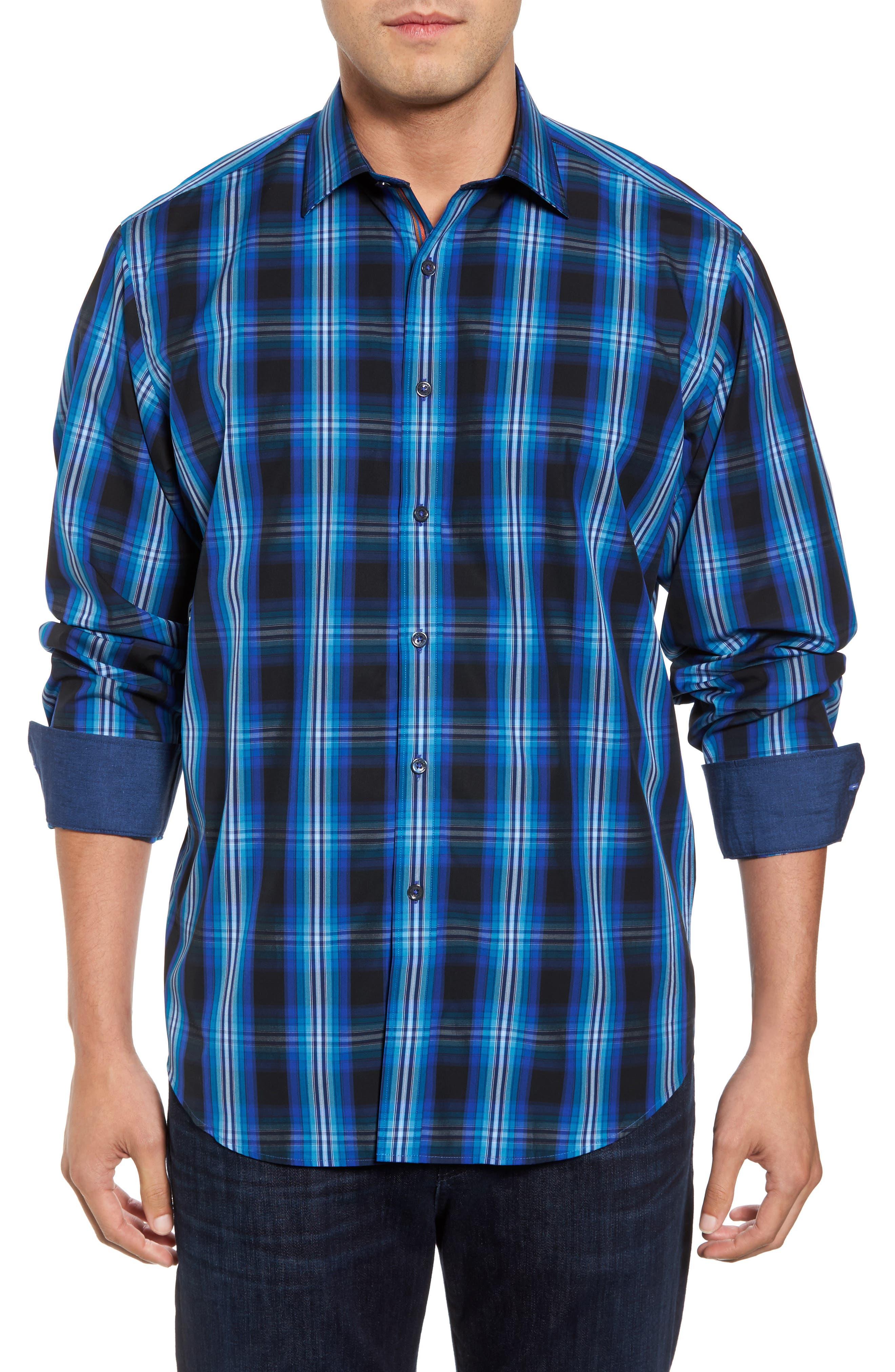 Classic Fit Plaid Sport Shirt,                         Main,                         color, 422