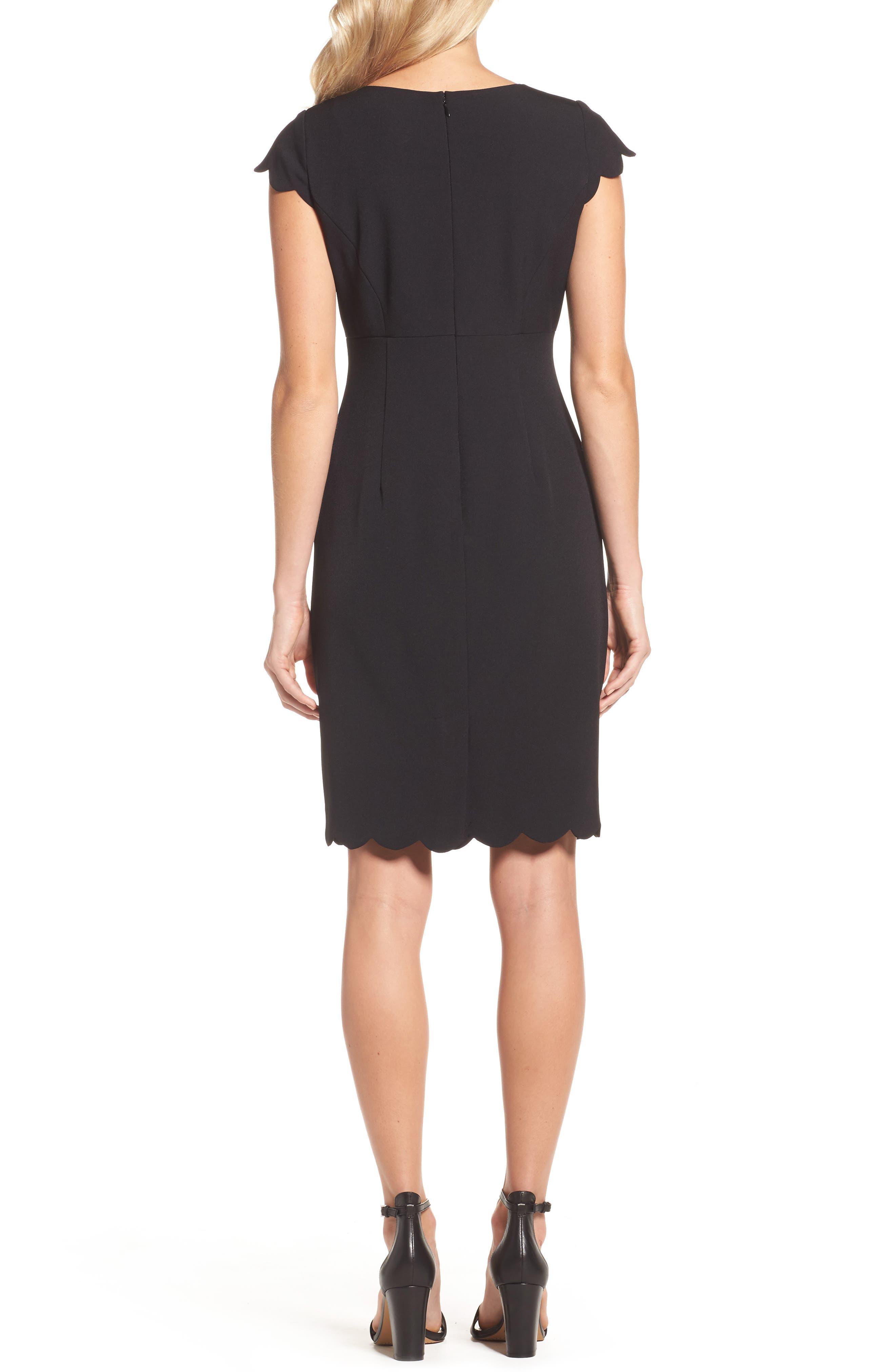 ADRIANNA PAPELL,                             Scalloped Crepe Sheath Dress,                             Alternate thumbnail 2, color,                             001