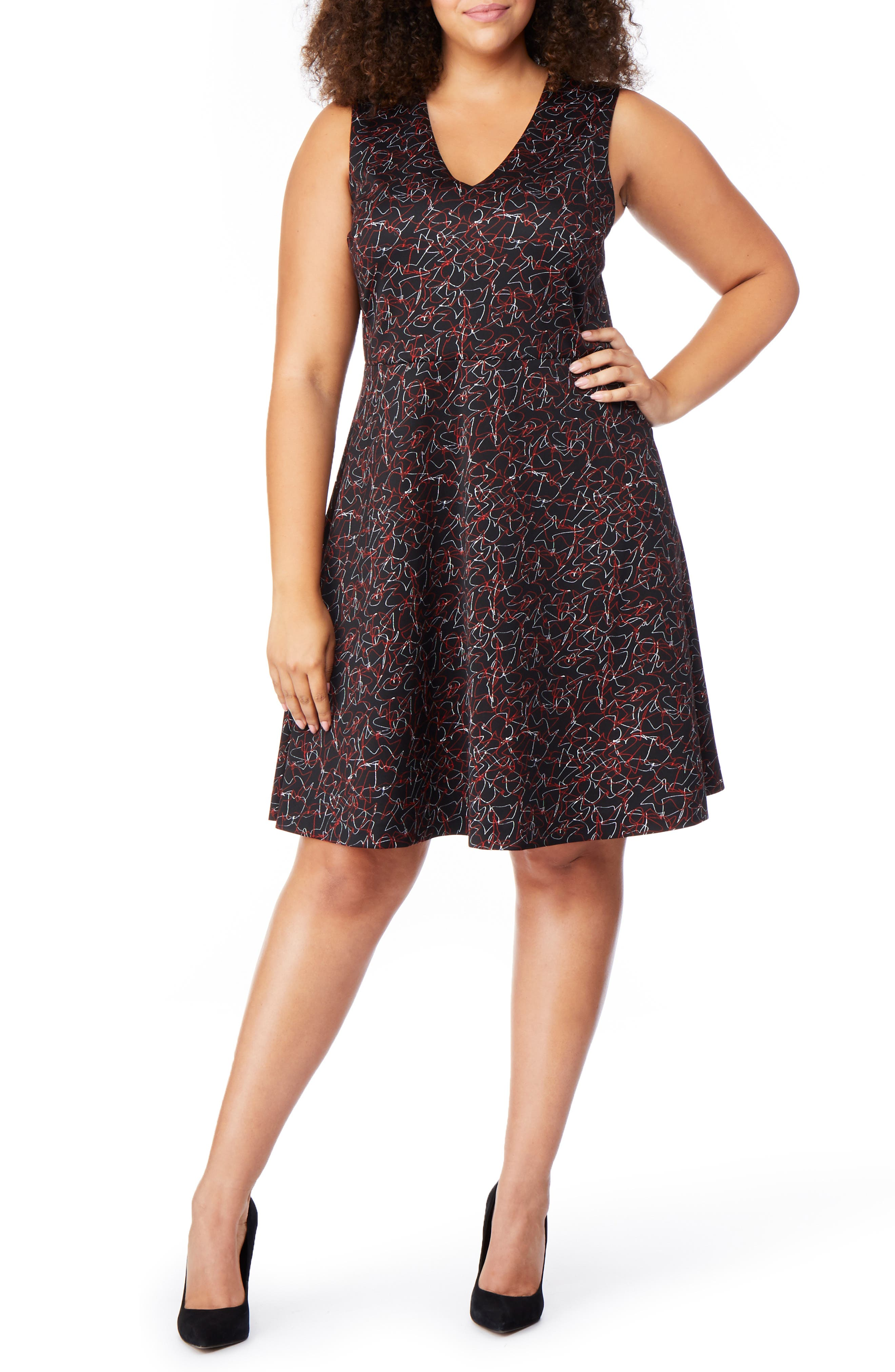 Fit & Flare Dress,                         Main,                         color, SCRIBBLE