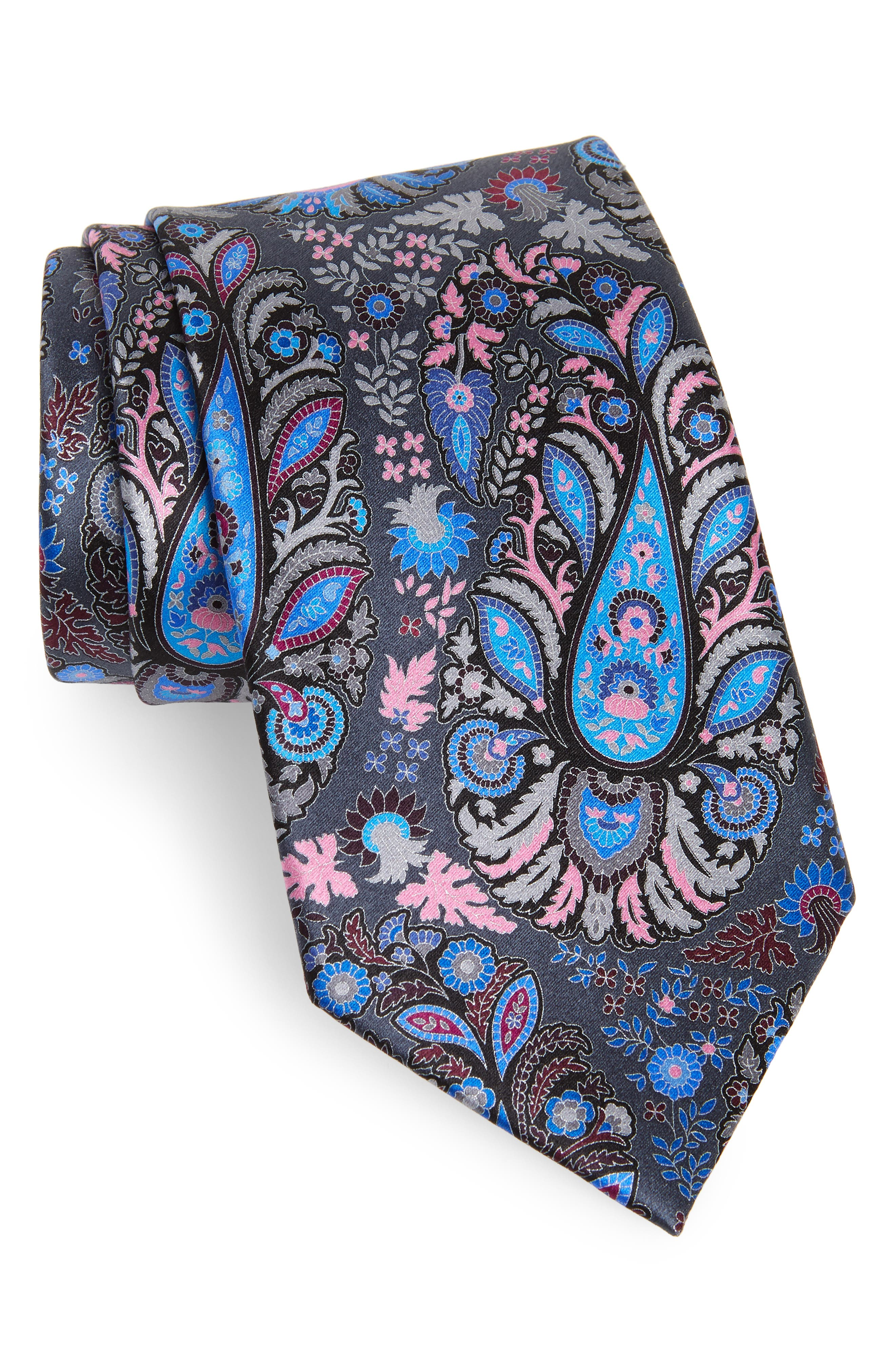 Quindici + Quindici Paisley Silk Tie,                         Main,                         color, BLACK/ BLUE