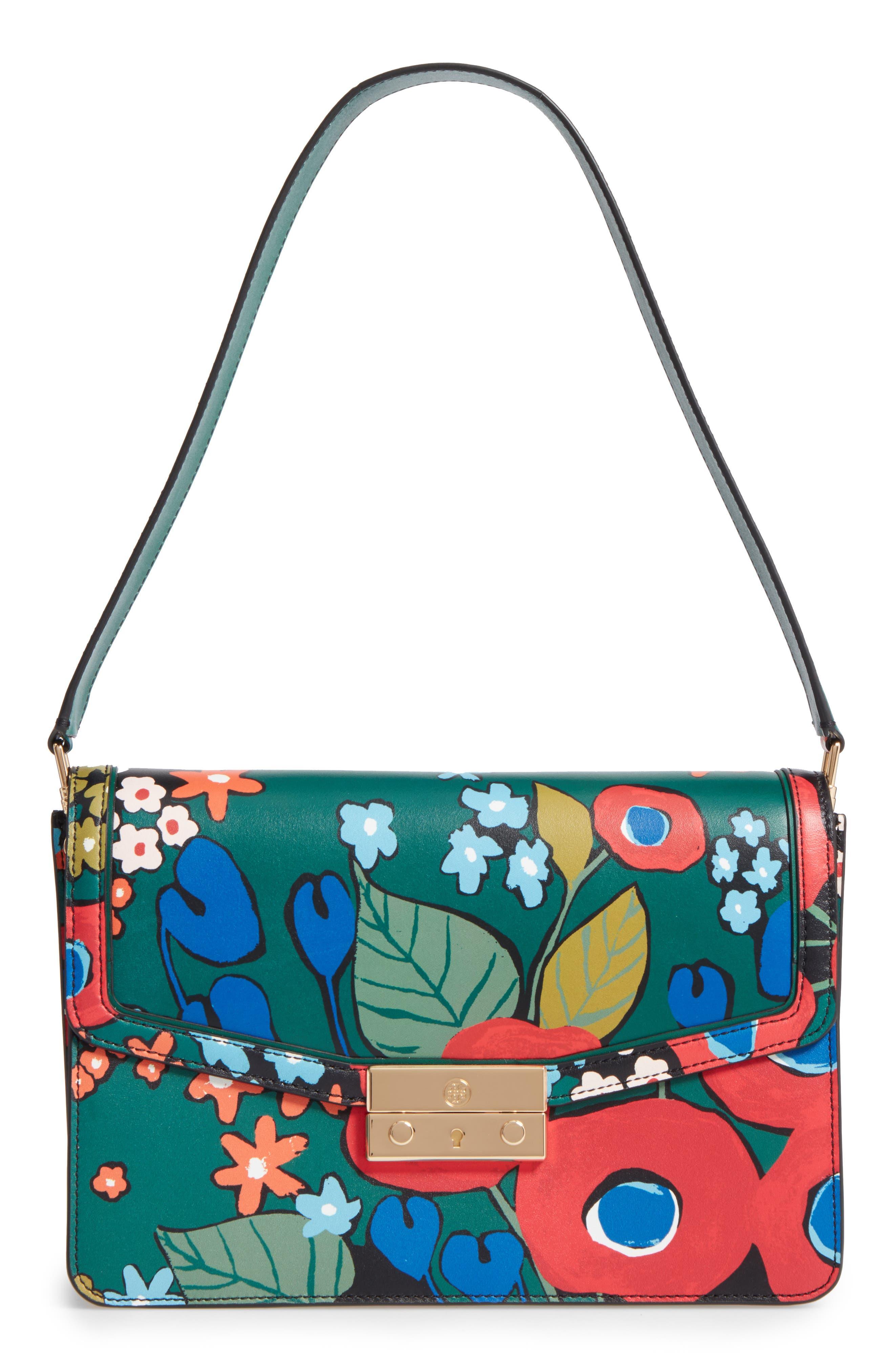 Juliette Flower Print Leather Shoulder Bag,                         Main,                         color, 300