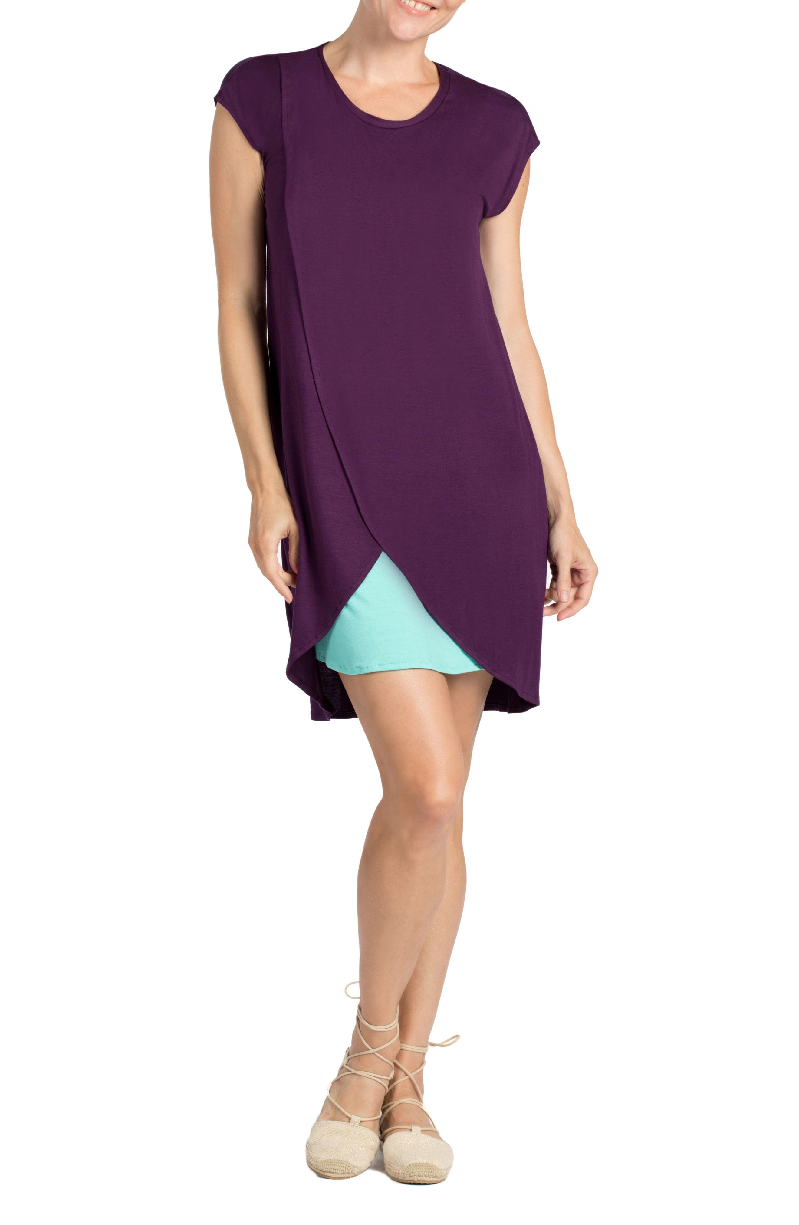 Lille Layered Maternity/Nursing Sheath Dress,                             Alternate thumbnail 4, color,                             EGGPLANT/ DARK MINT CONTRAST