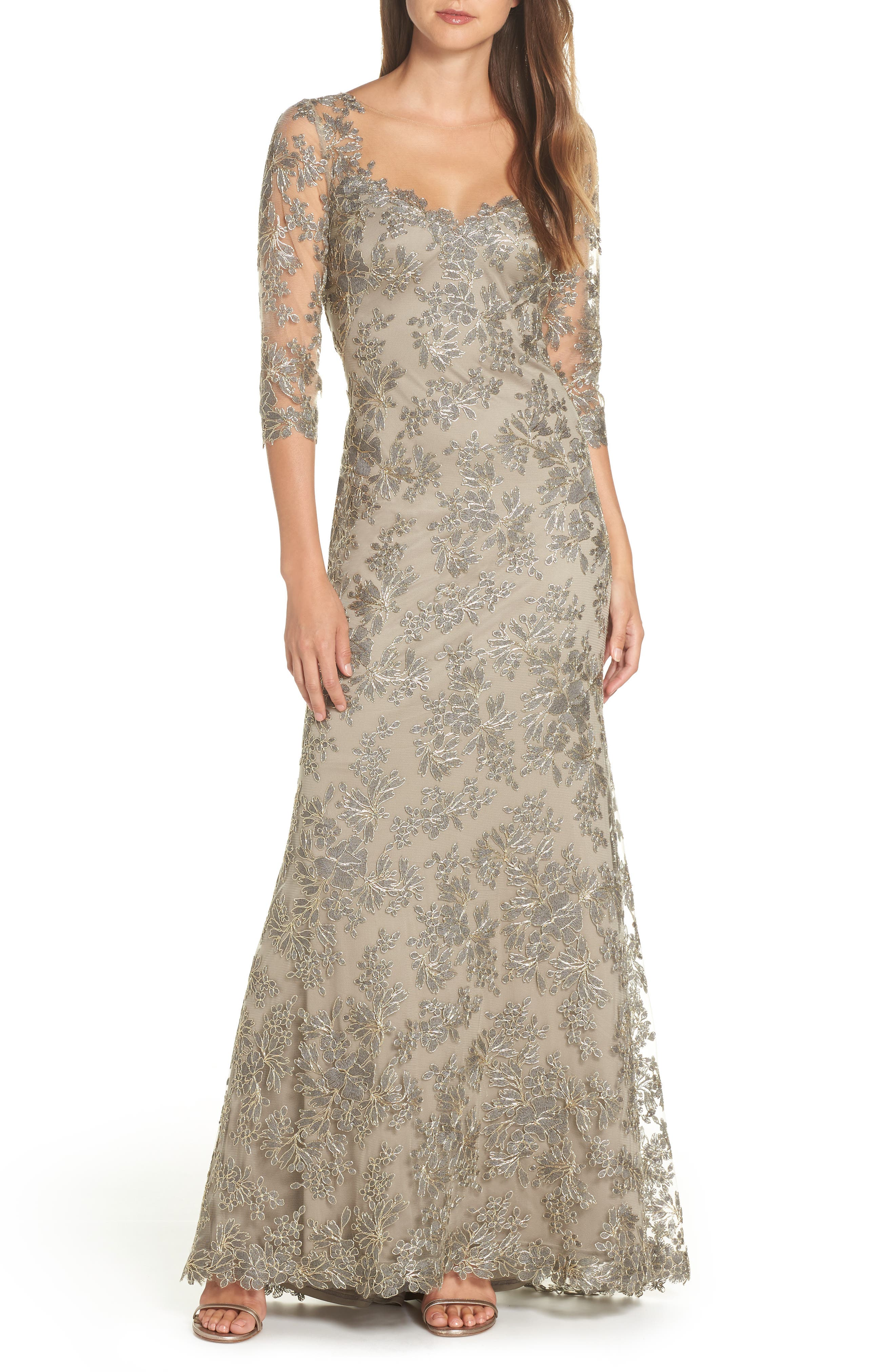 TADASHI SHOJI Corded Embroidered Lace Gown, Main, color, SMOKE PEARL