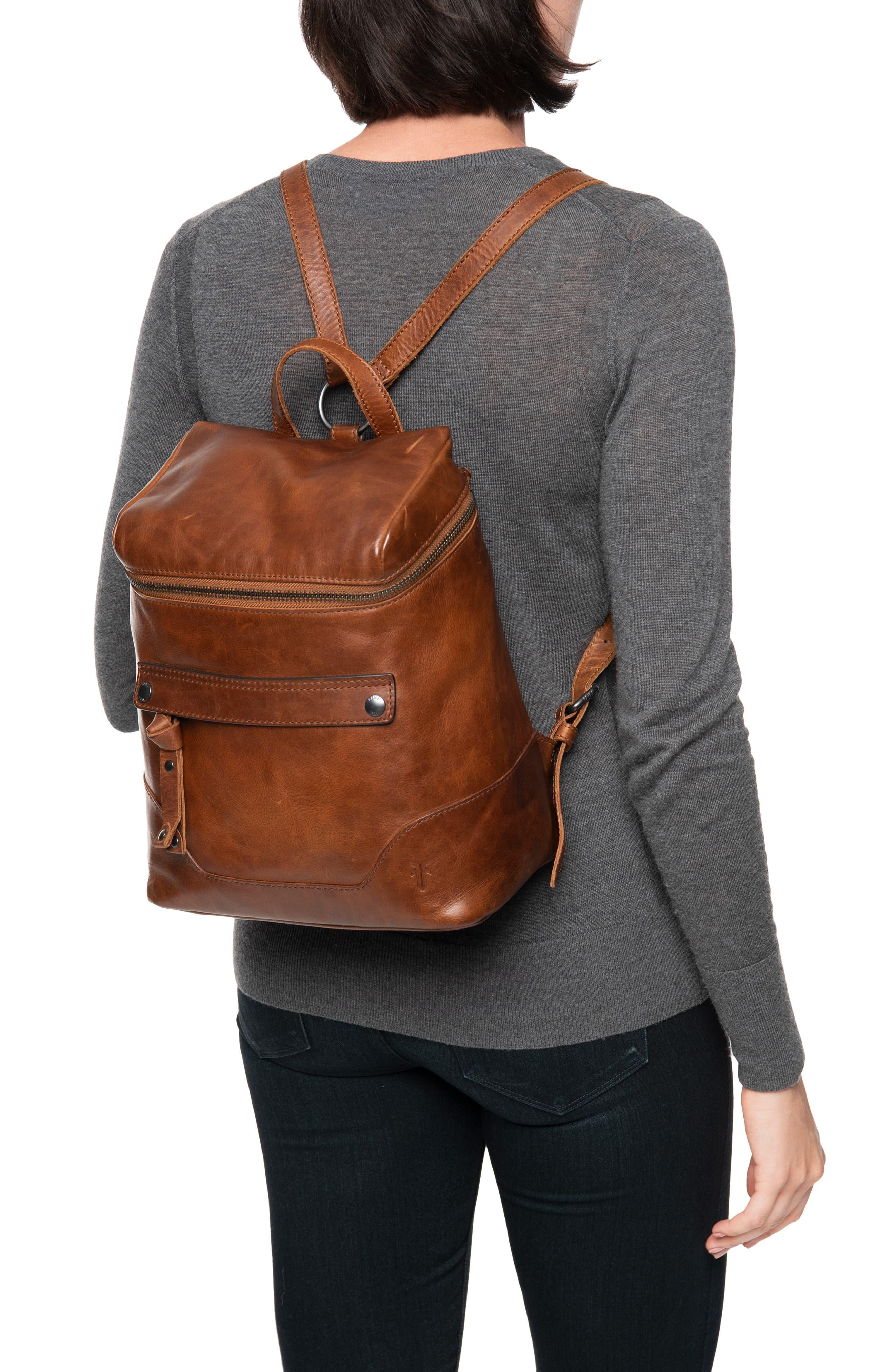 Melissa Leather Backpack,                             Alternate thumbnail 2, color,                             COGNAC