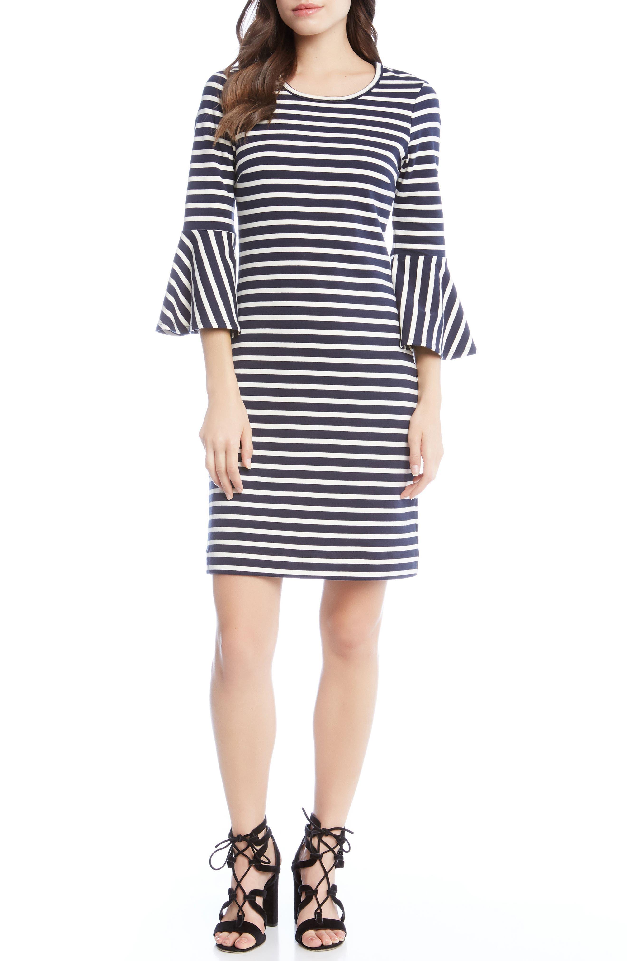 Flare Sleeve Stripe Dress,                             Main thumbnail 1, color,                             001