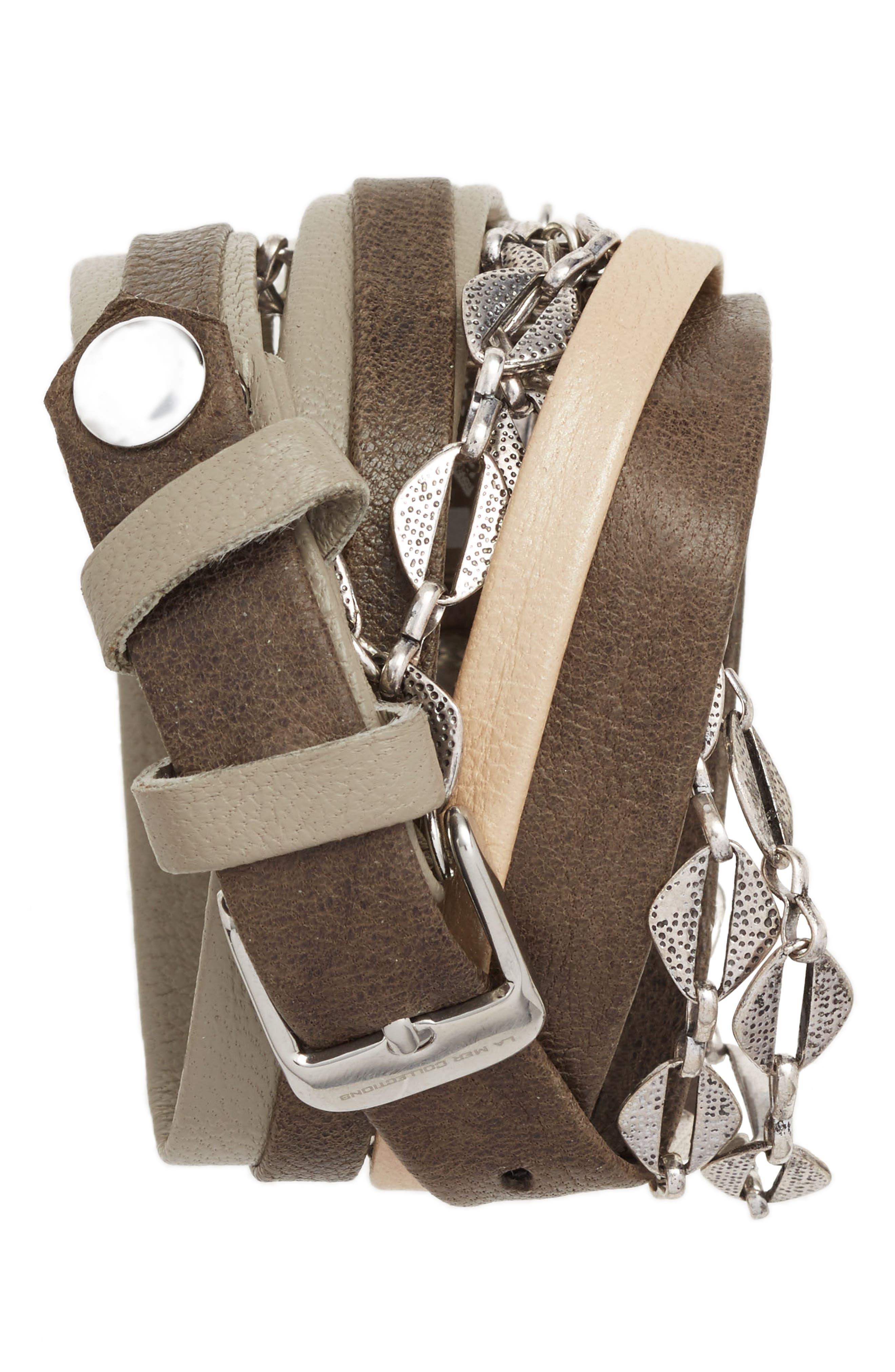 Leather & Chain Wrap Bracelet Watch, 28mm,                             Alternate thumbnail 3, color,                             040