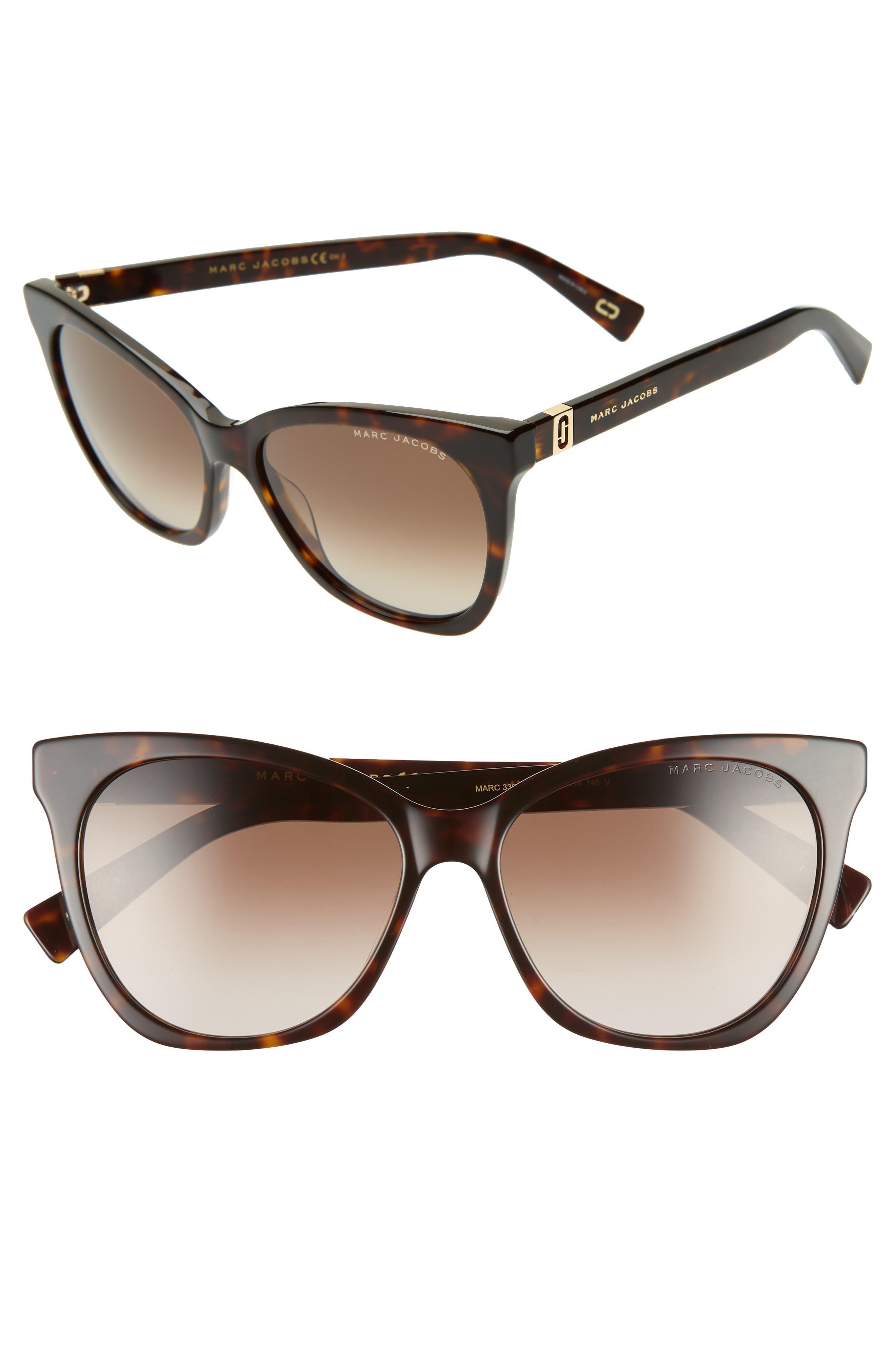 56mm Cat Eye Sunglasses,                             Main thumbnail 1, color,                             DARK HAVANA