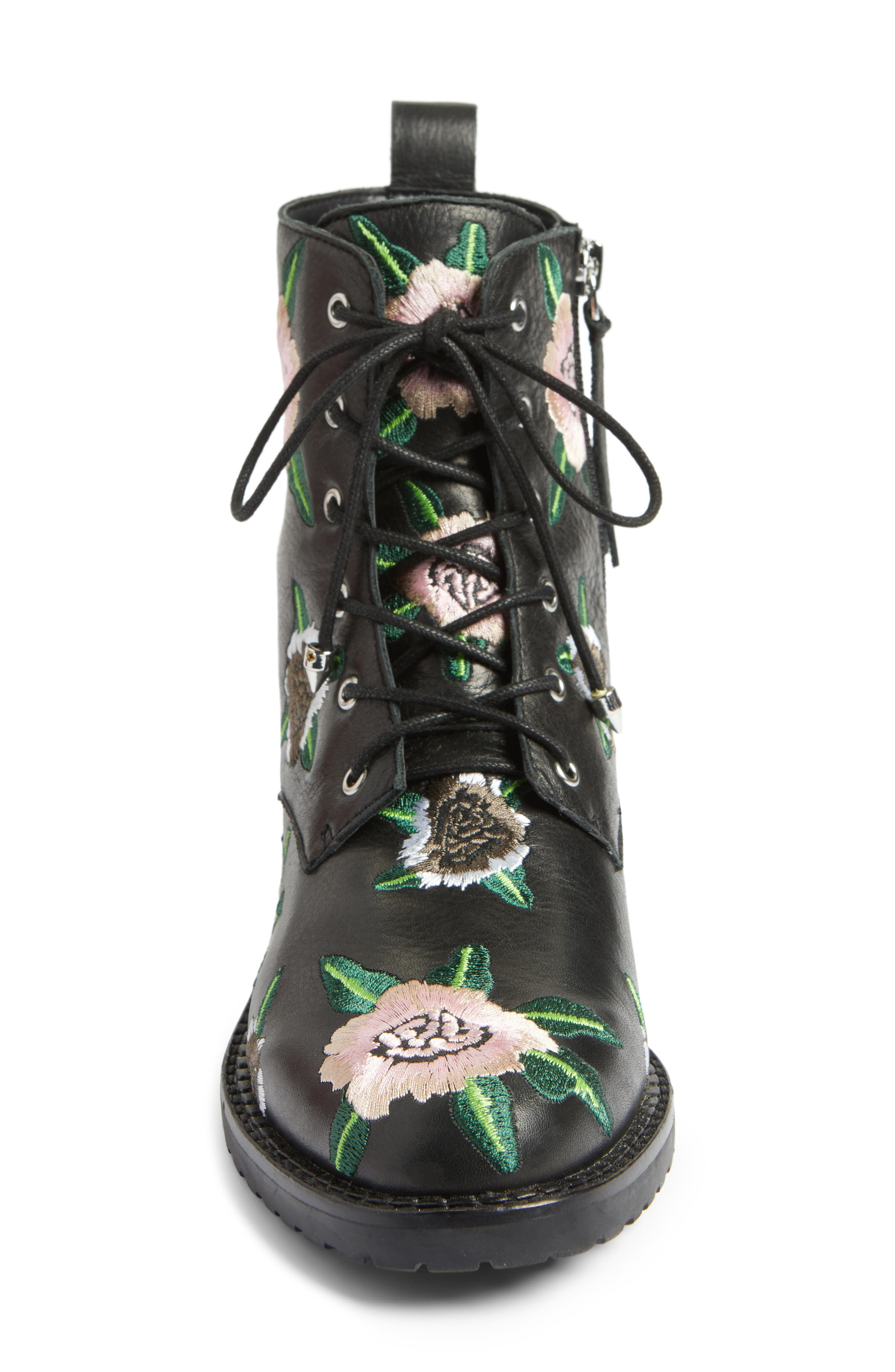 Gerry Embroidered Lace-Up Boot,                             Alternate thumbnail 4, color,                             001