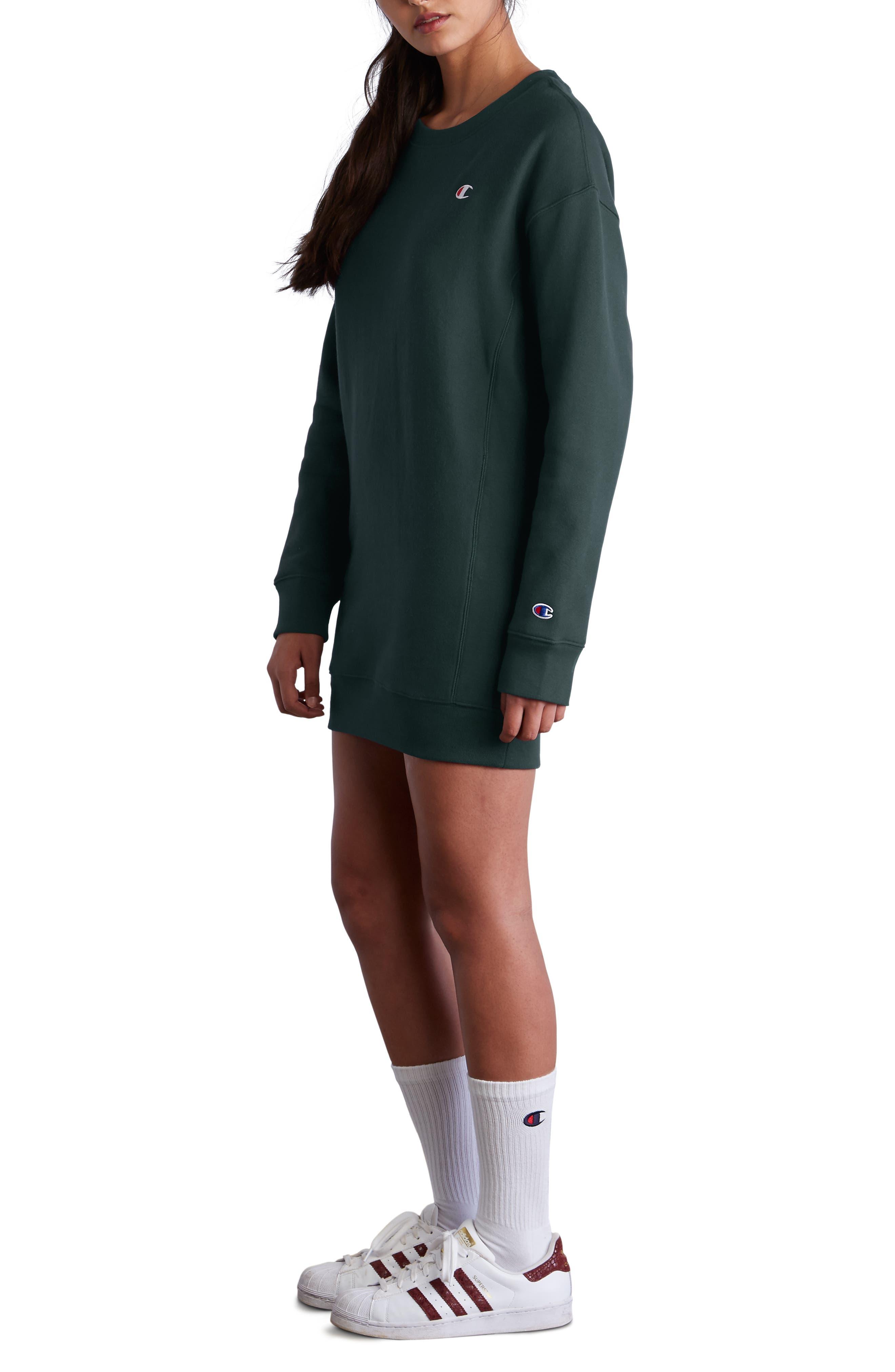 Reverse Weave<sup>®</sup> Sweatshirt Dress,                             Alternate thumbnail 3, color,                             LAKESIDE GREEN