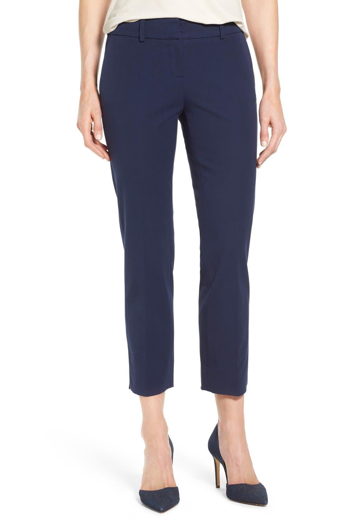 Crop Stretch Cotton Pants,                             Main thumbnail 13, color,