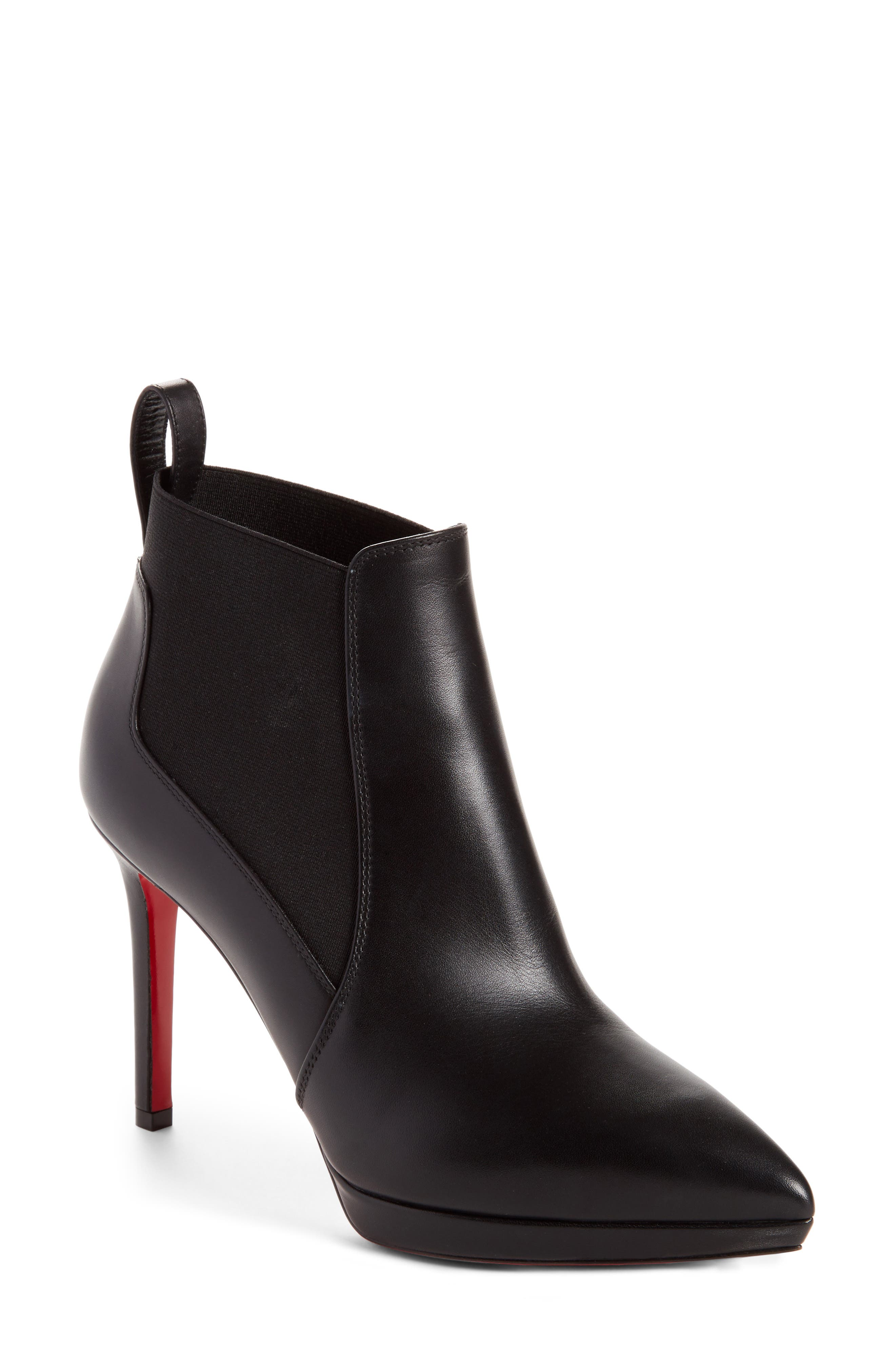 CHRISTIAN LOUBOUTIN Crochinetta Bootie, Main, color, BLACK