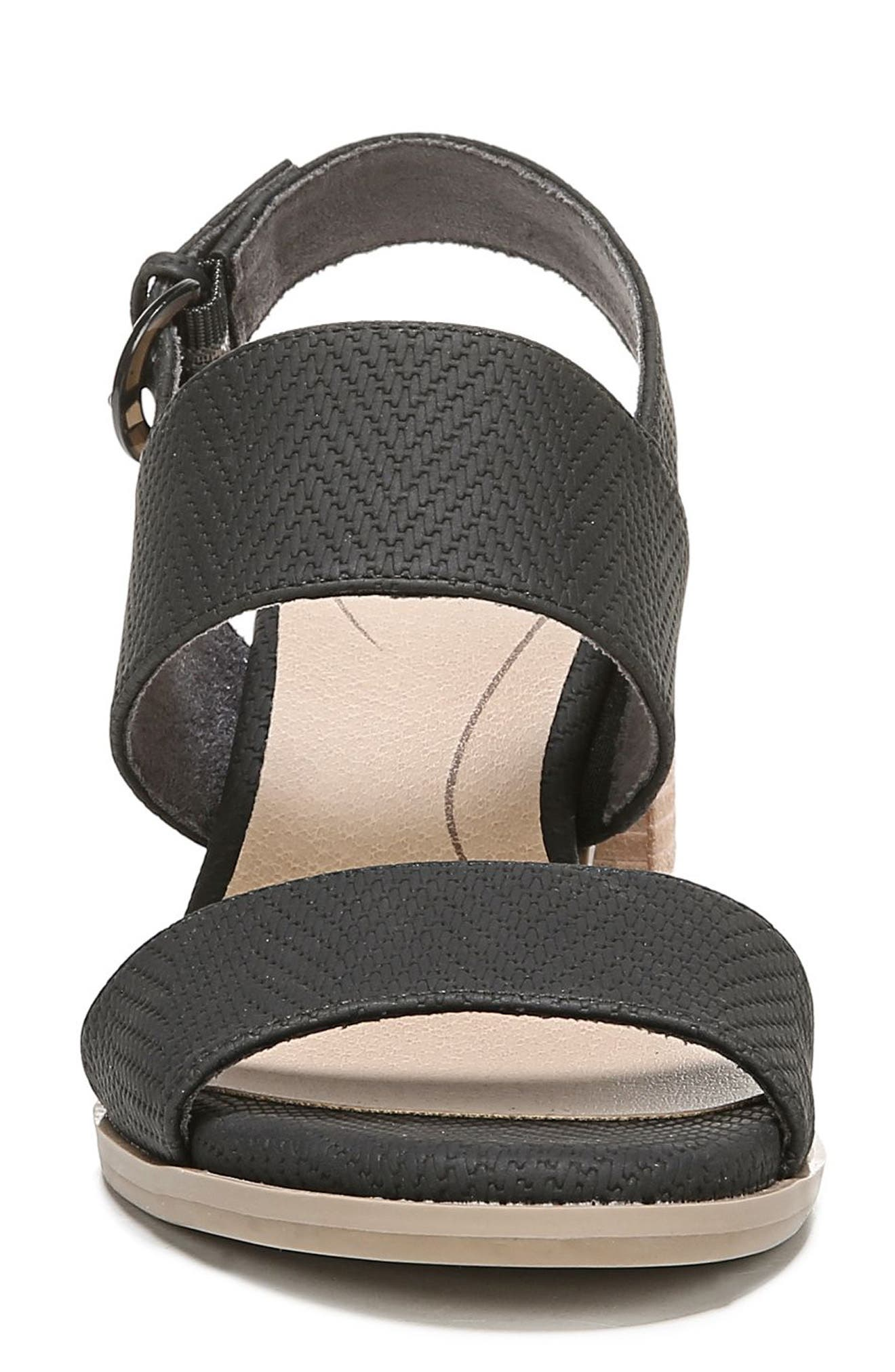 Sure Thing Sandal,                             Alternate thumbnail 4, color,                             BLACK FAUX LEATHER