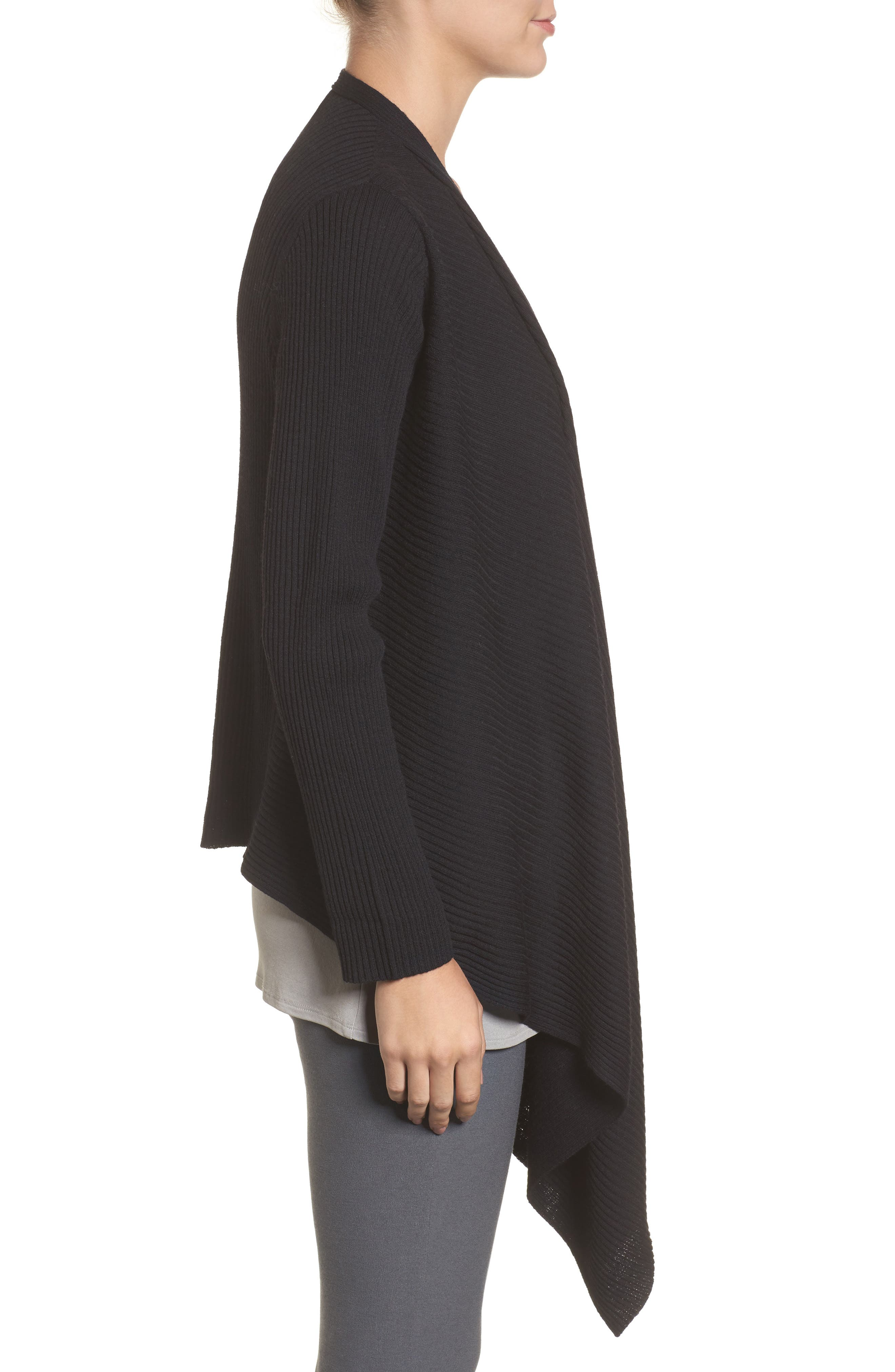 Drape Front Wool Cardigan,                             Alternate thumbnail 3, color,                             001