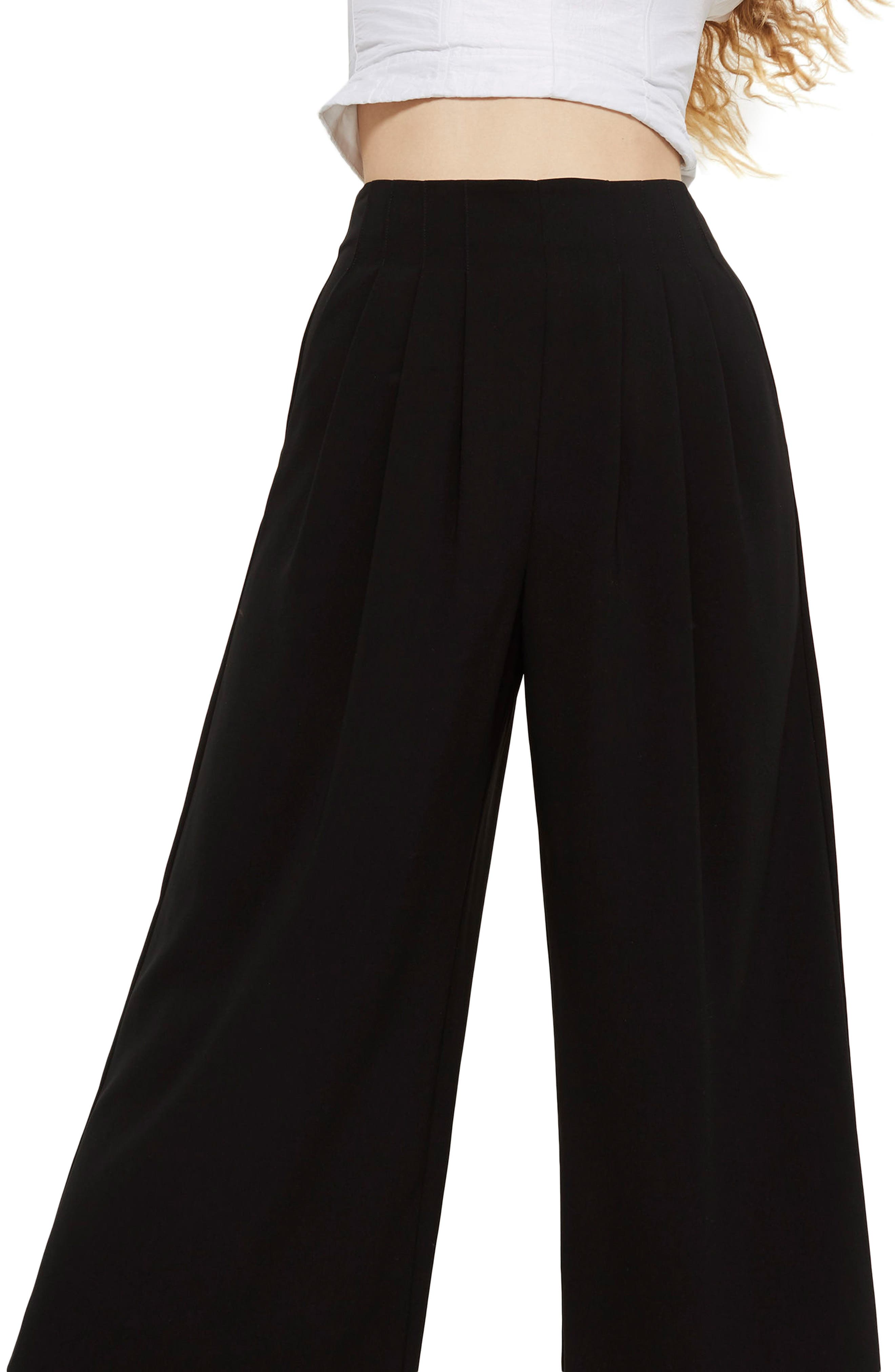 Ivy Crop Wide Leg Trousers,                             Main thumbnail 1, color,                             001