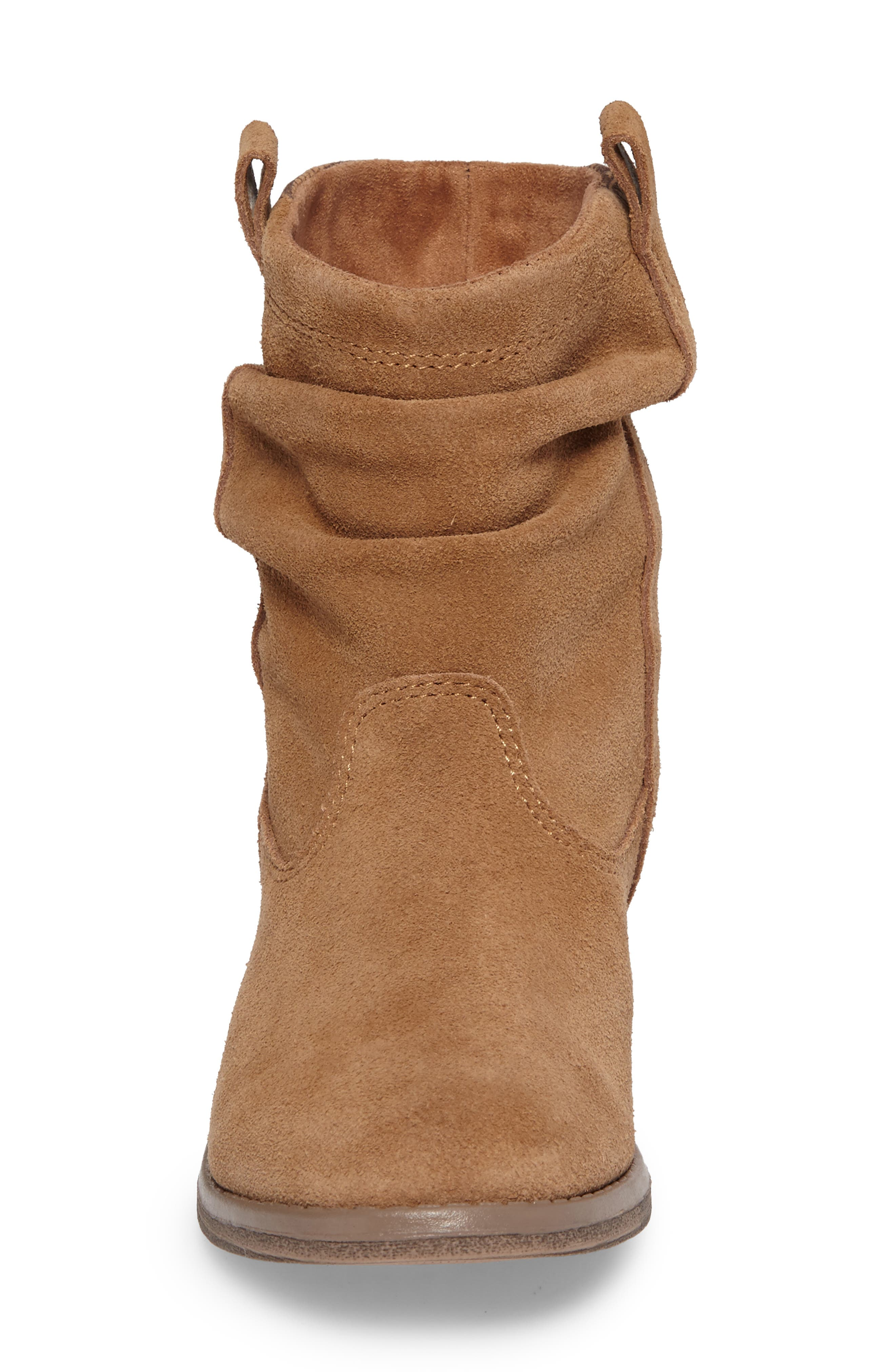 Laurel Slouchy Bootie,                             Alternate thumbnail 4, color,                             TOFFEE SUEDE