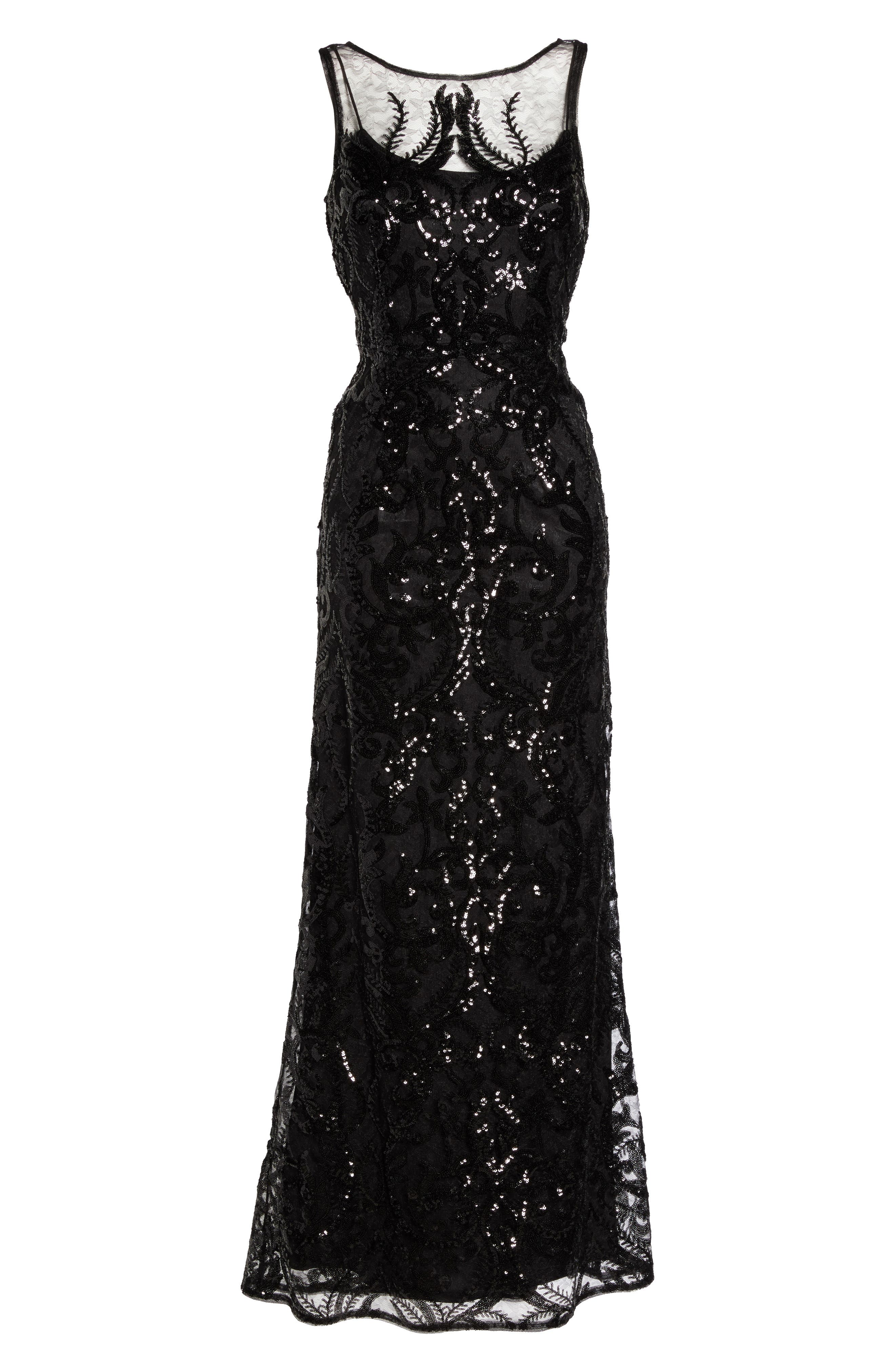 Sequin Embellished Chiffon Gown,                             Alternate thumbnail 6, color,                             002