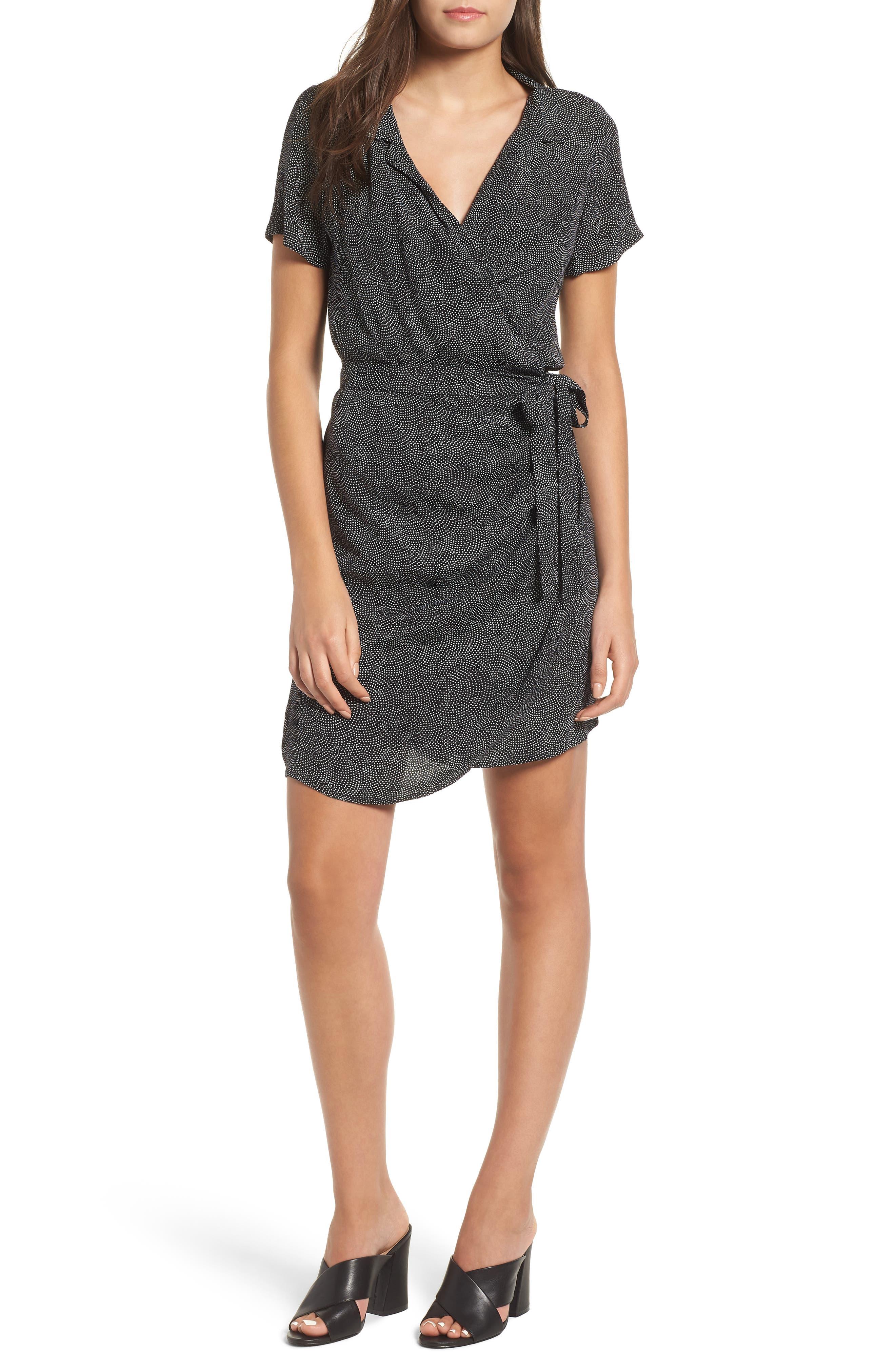 Print Wrap Dress,                         Main,                         color, BLACK CONFETTI PARTY
