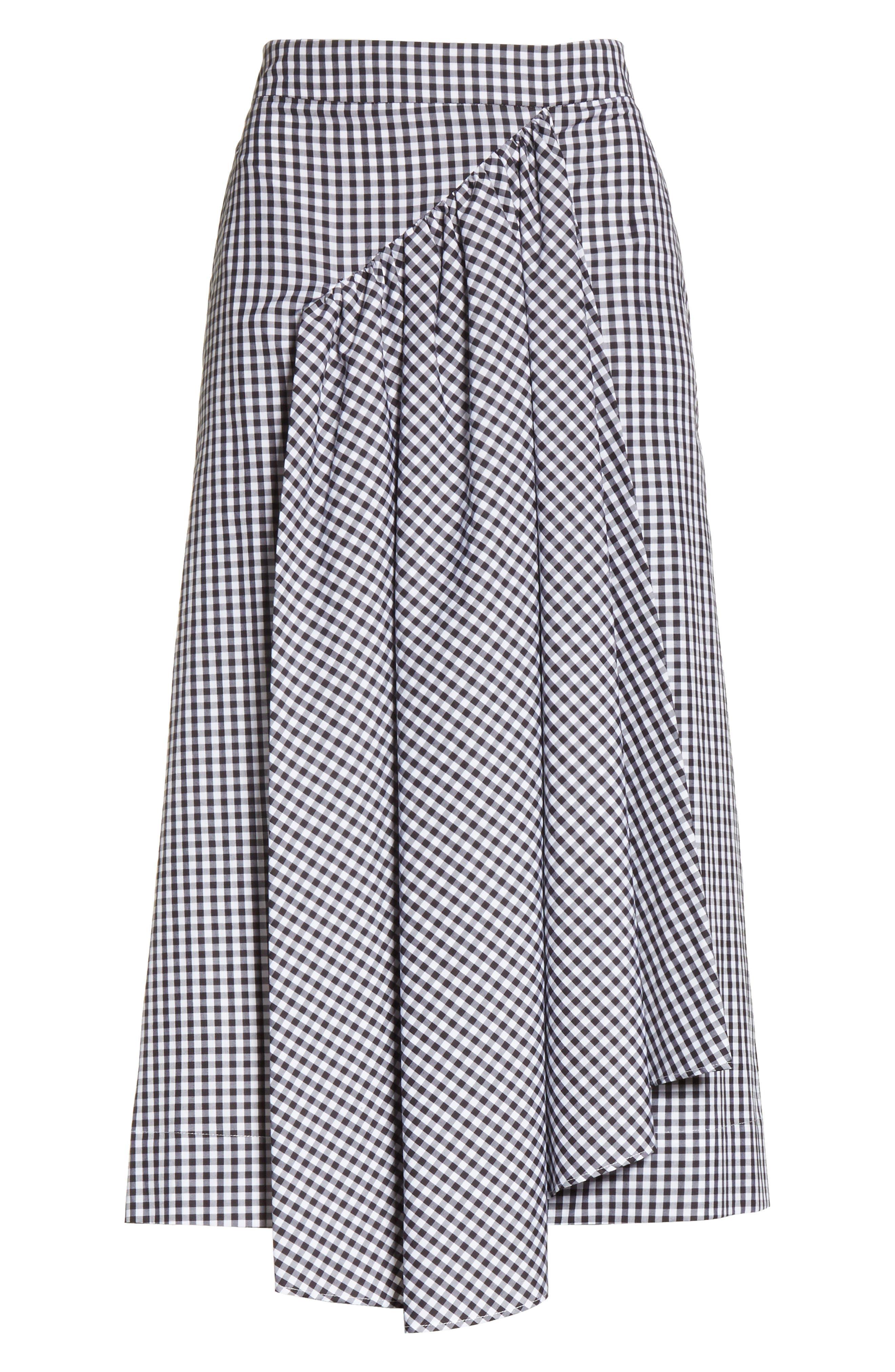 Three-Panel Gingham Midi Skirt,                             Alternate thumbnail 6, color,                             100