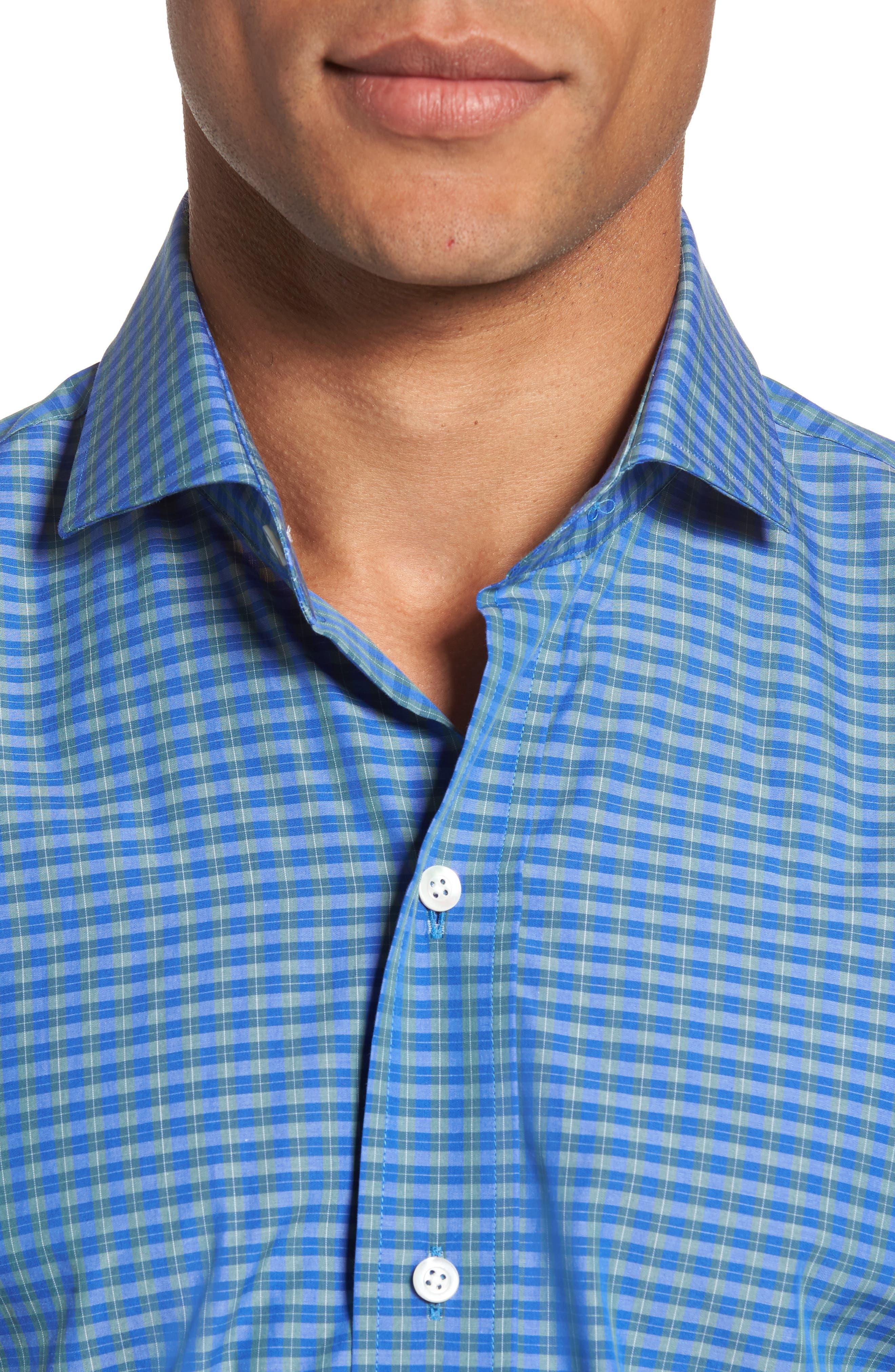 Alden Slim Fit Plaid Sport Shirt,                             Alternate thumbnail 4, color,                             306