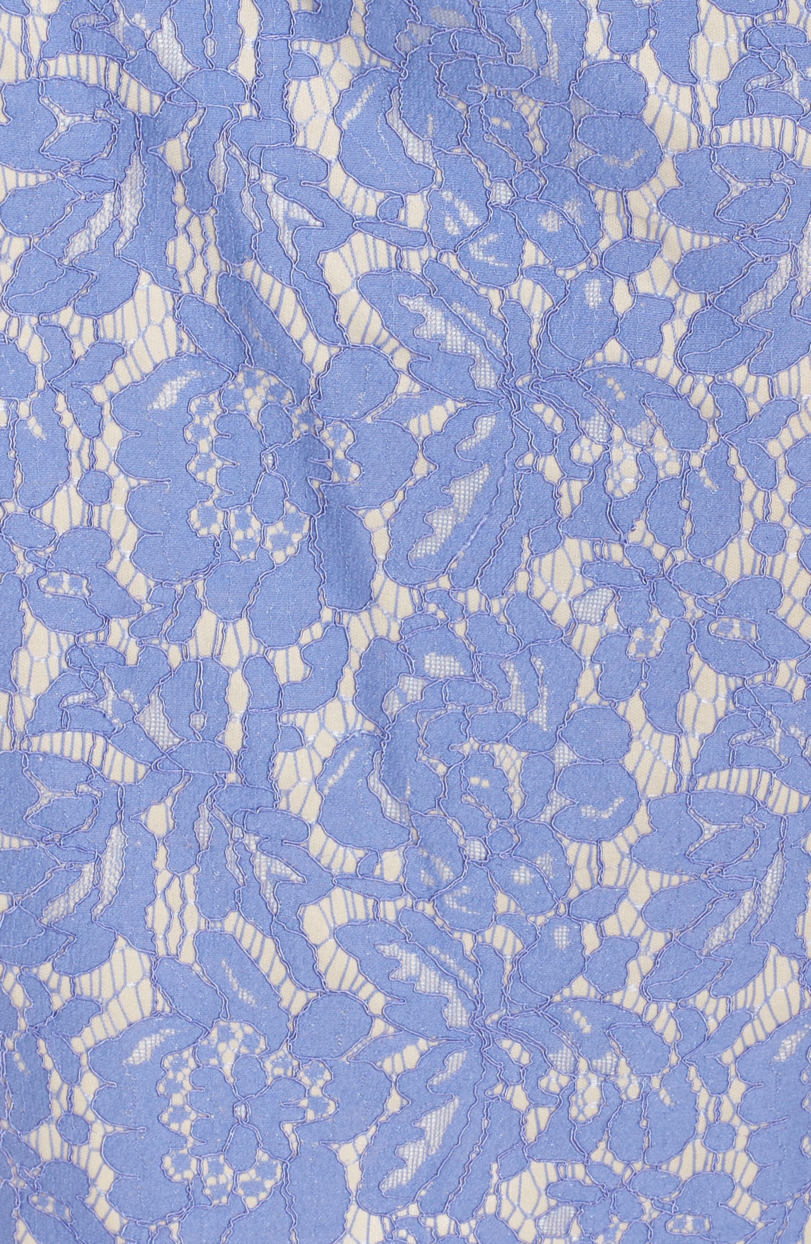 VINCE CAMUTO,                             Off the Shoulder Lace Sheath Dress,                             Alternate thumbnail 6, color,                             PERIWINKLE