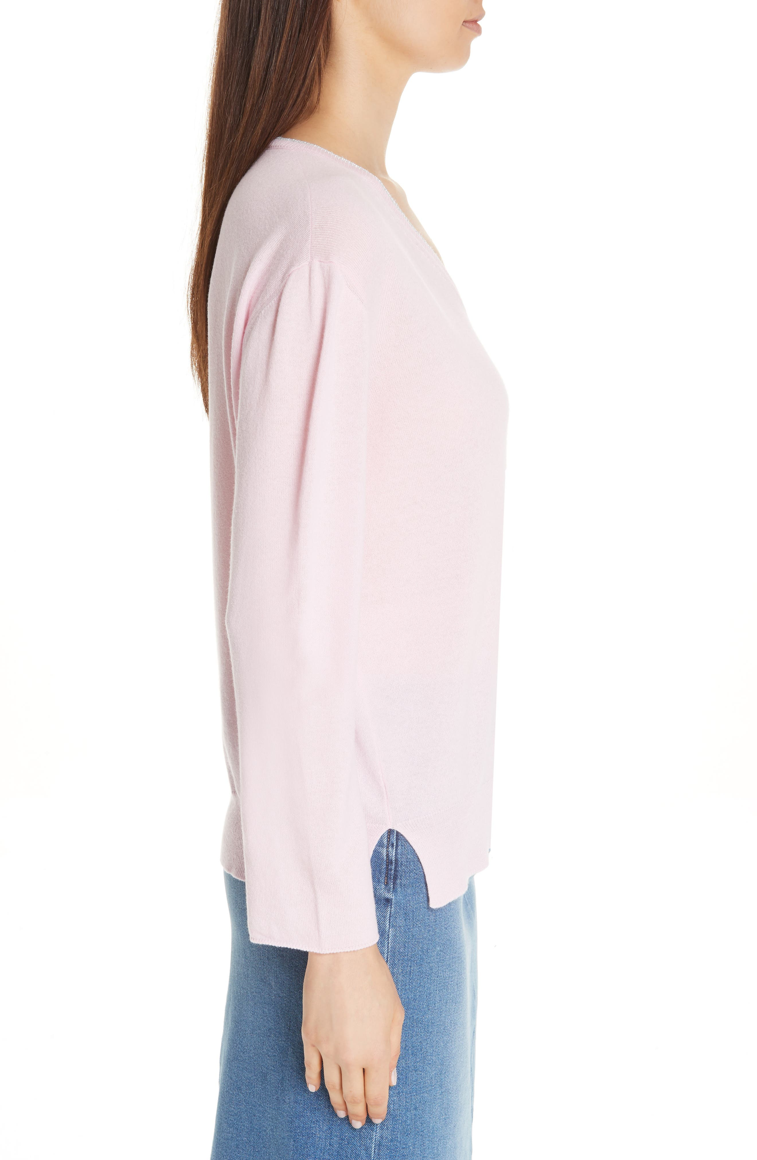 Metallic Trim Cashmere Sweater,                             Alternate thumbnail 3, color,                             PINK