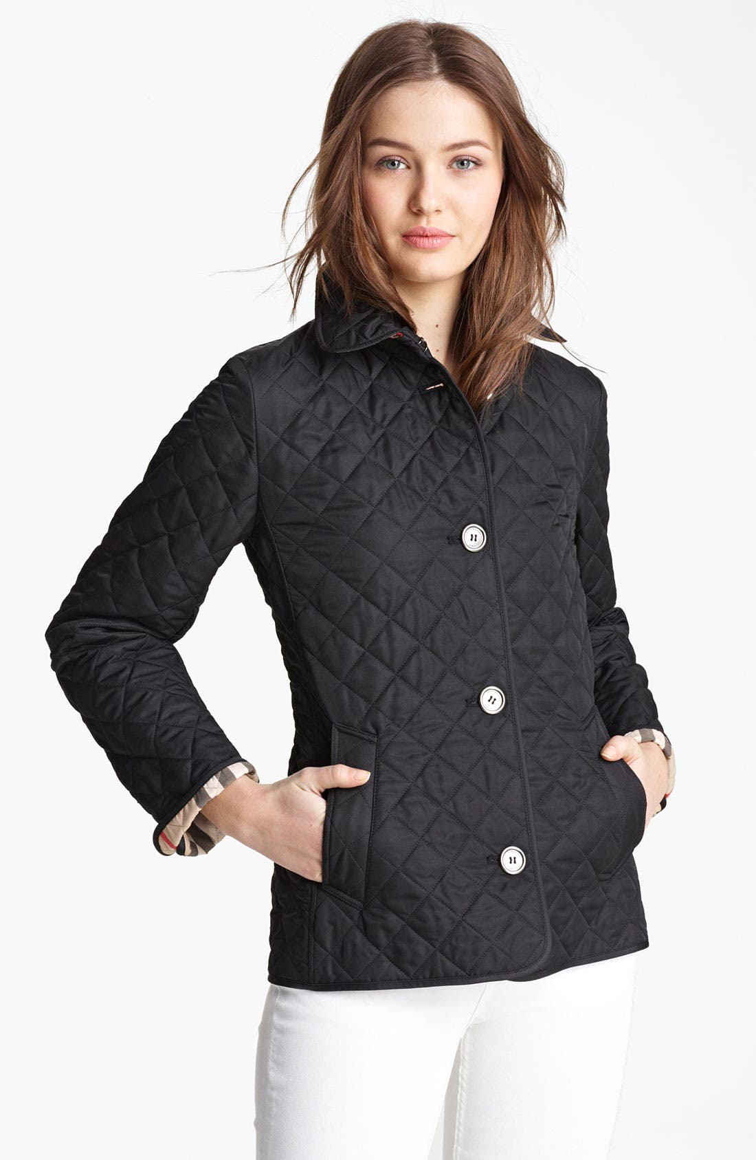 'Copford' Quilted Jacket,                             Alternate thumbnail 4, color,                             001